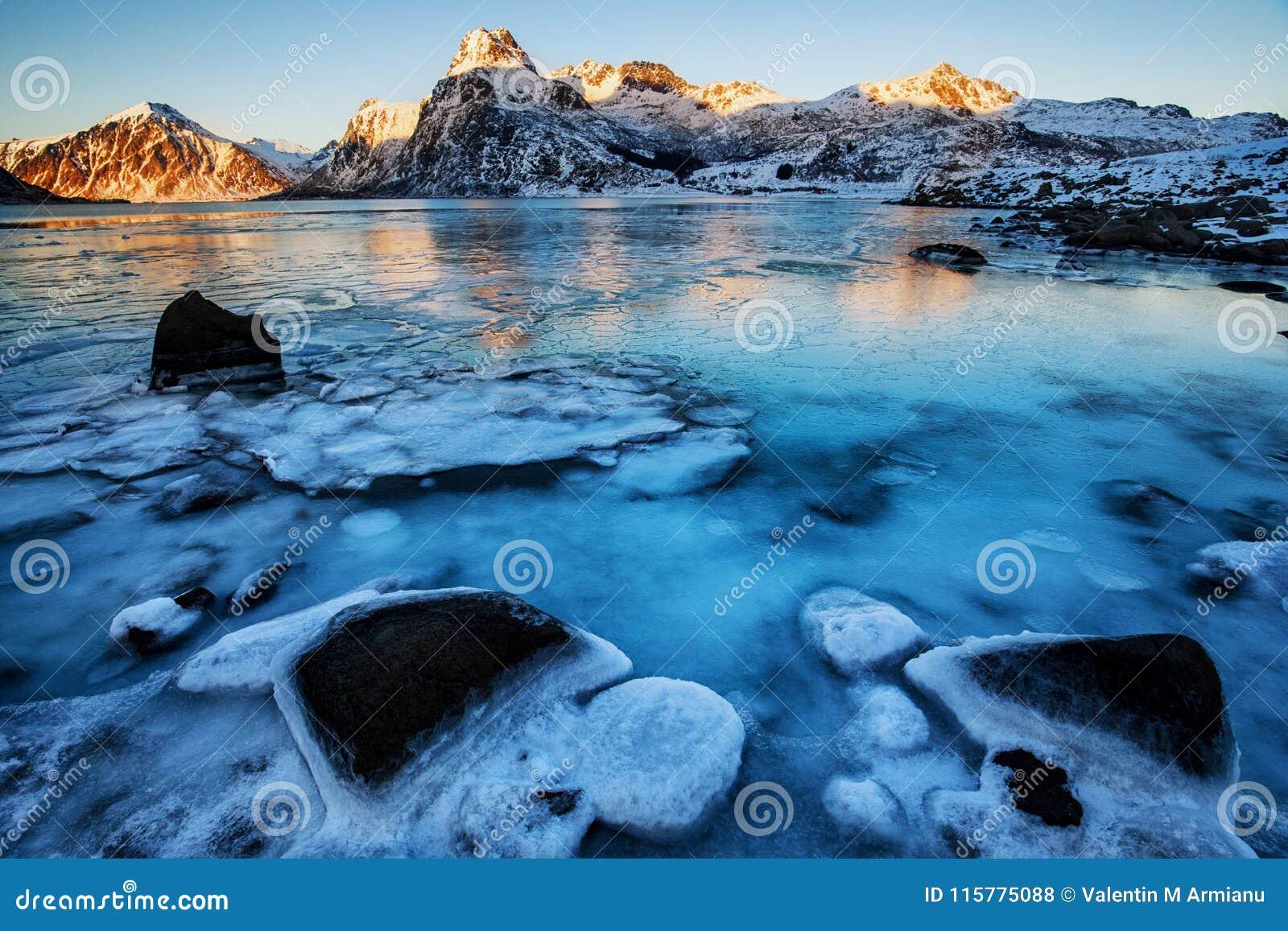 Frozen lake in the winter