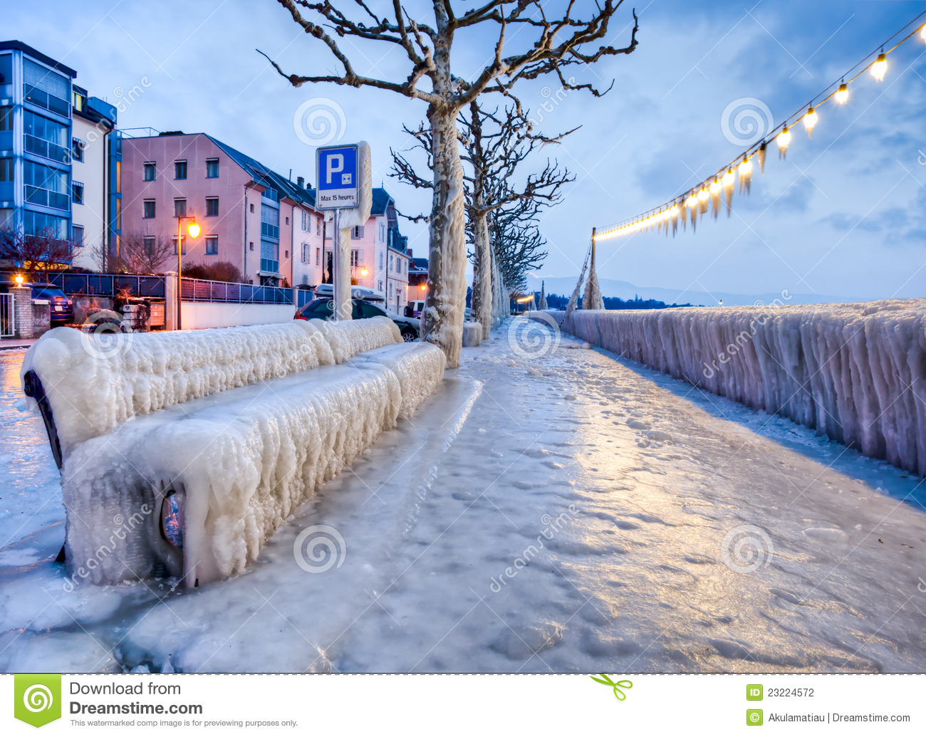 Frozen Lakefront Bench stock photo. Image of cold, seat ...