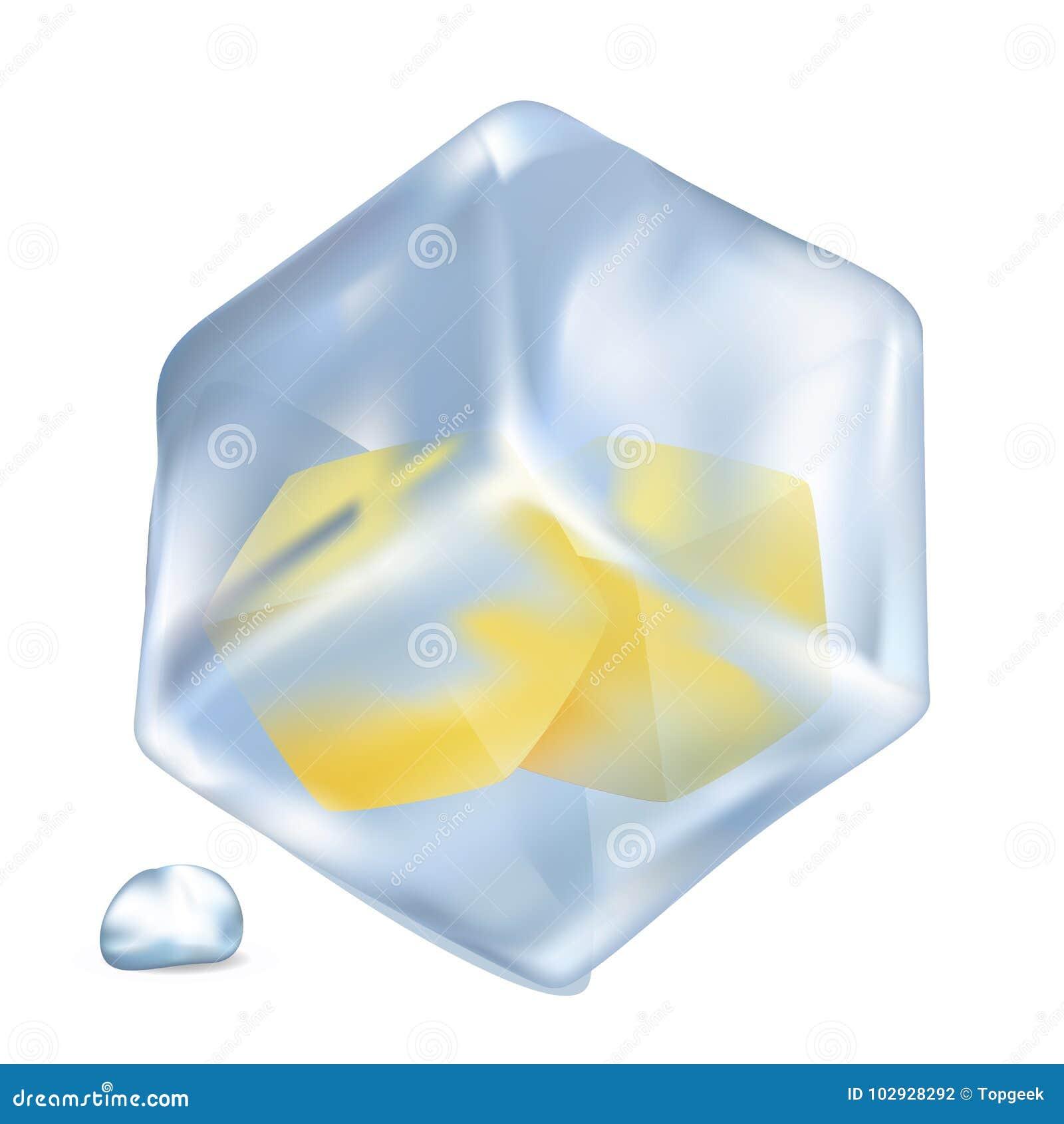 Frozen Lemon Cubes In Ice Isolated Illustration Stock Vector