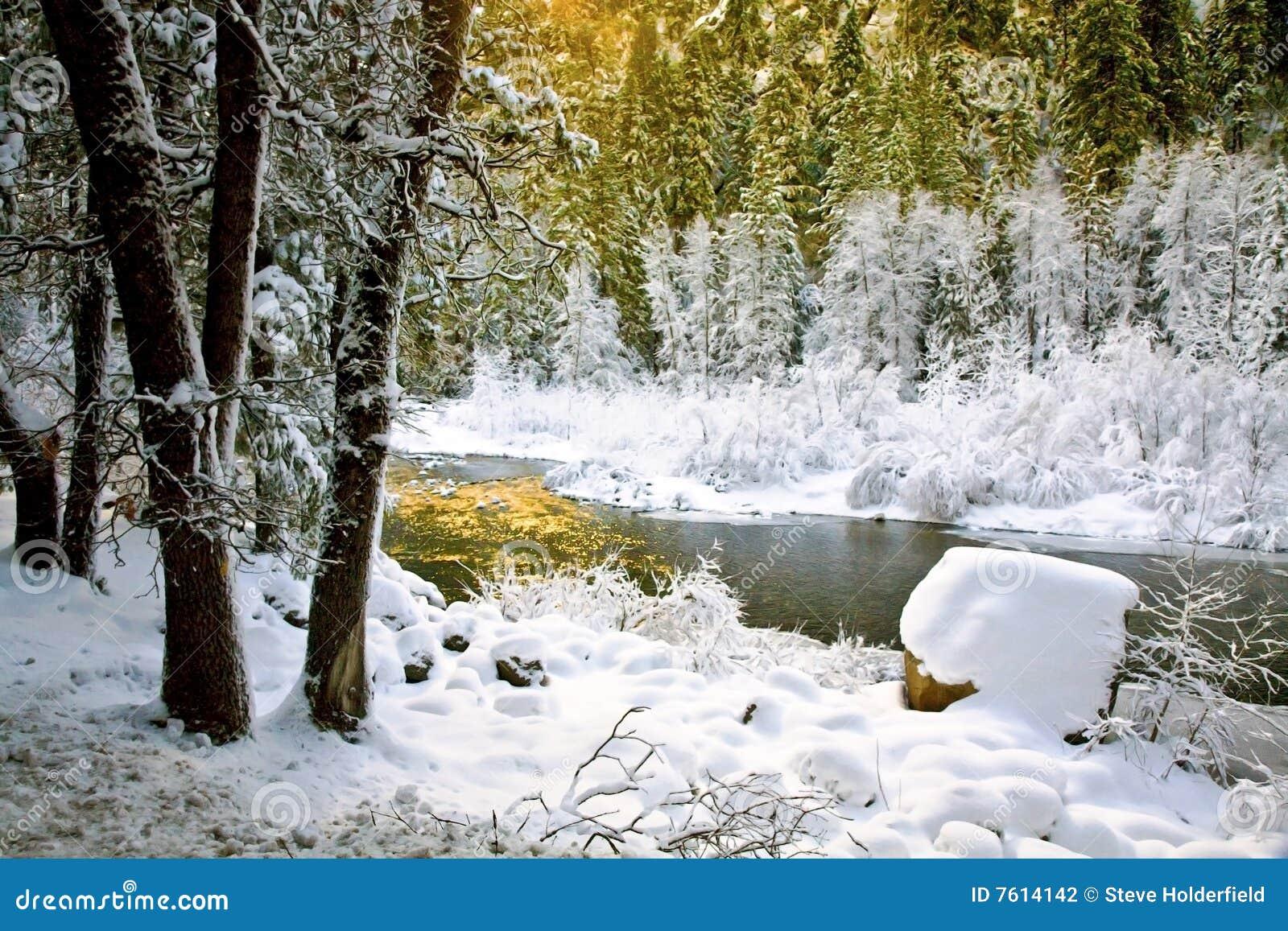 Frozen Merced River, Yosemite, CA