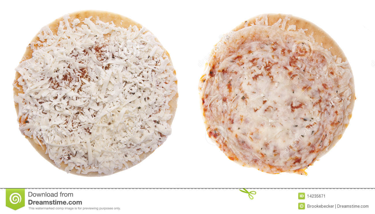 Frozen Pizza Raw And Cooked Stock Image - Image of white ...
