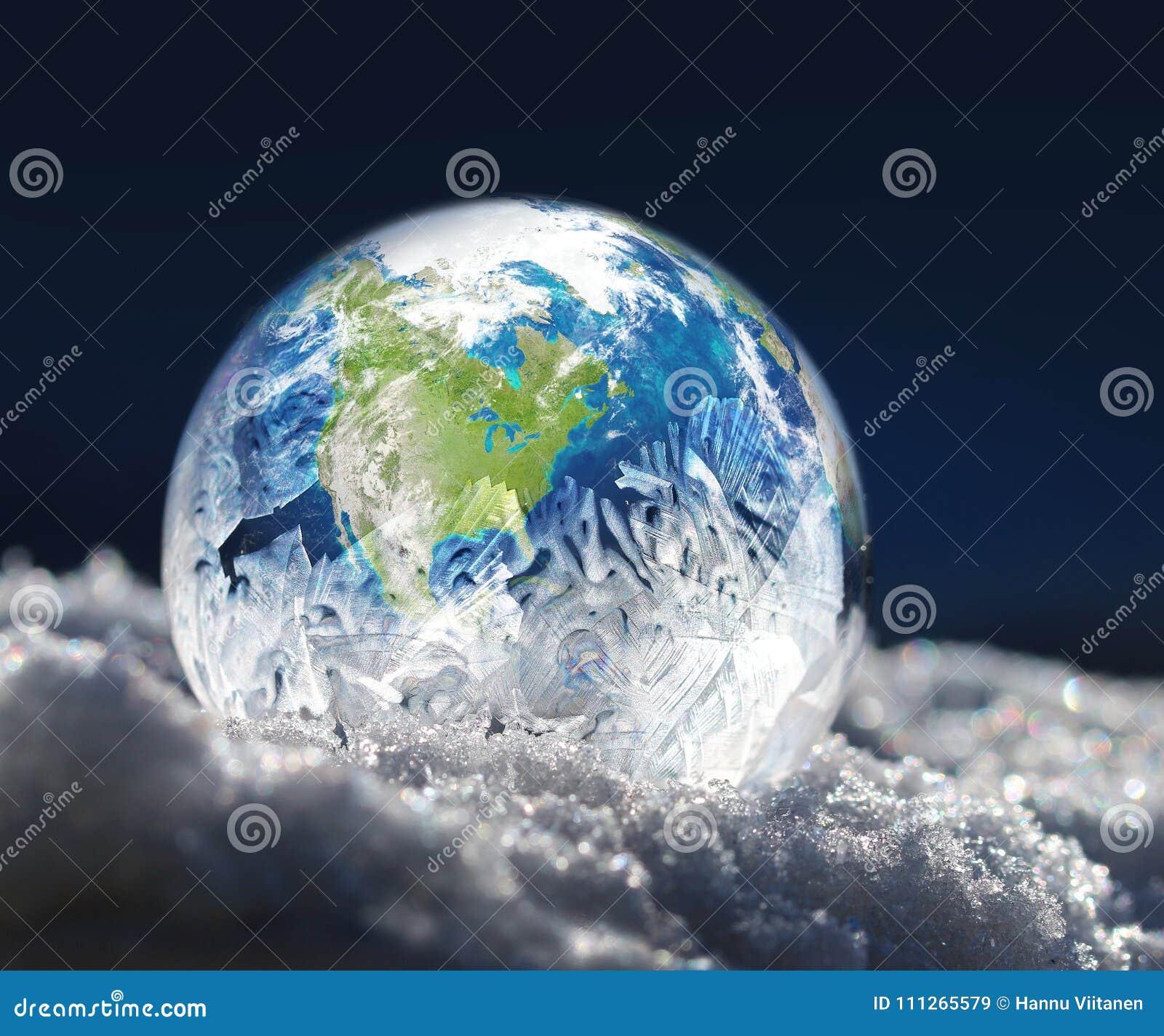 Frozen planet Earth climate change concept