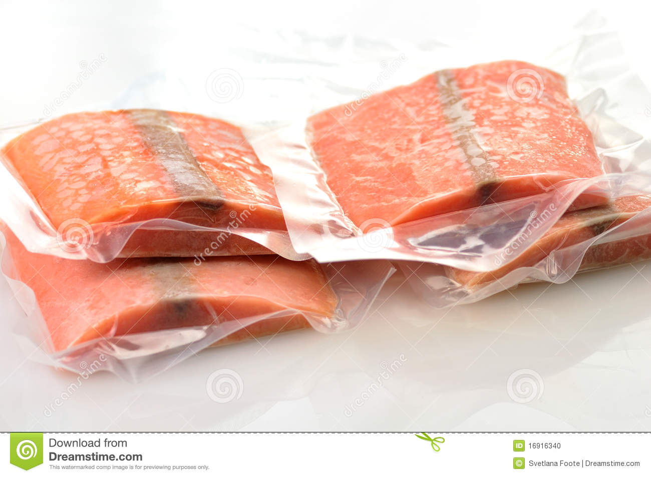 Raw frozen salmon dressing pepper and knife on bamboo mat for Best frozen fish