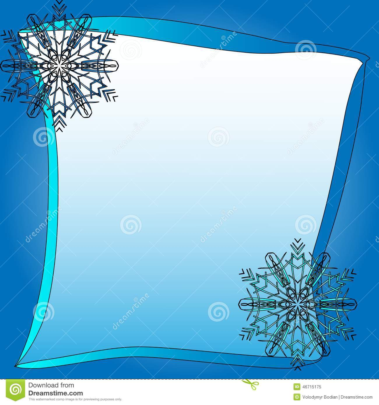 Frozen Square Frame With Blue Snowflakes Vector Illustration Stock ...
