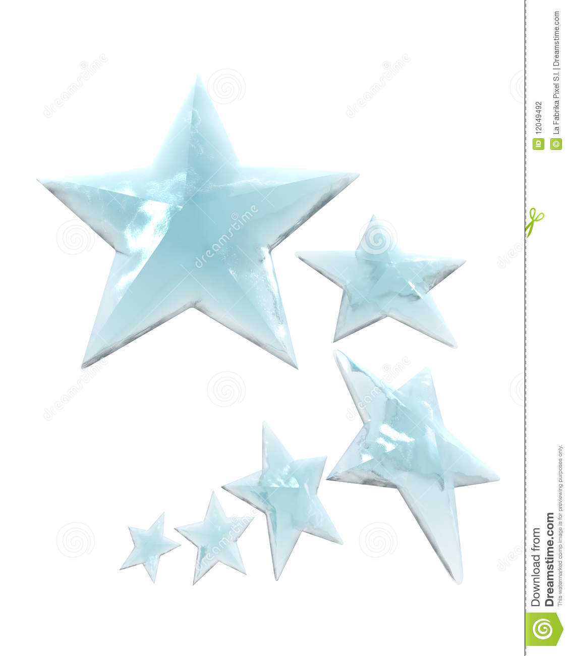 Group of six iced stars evolving in a white background