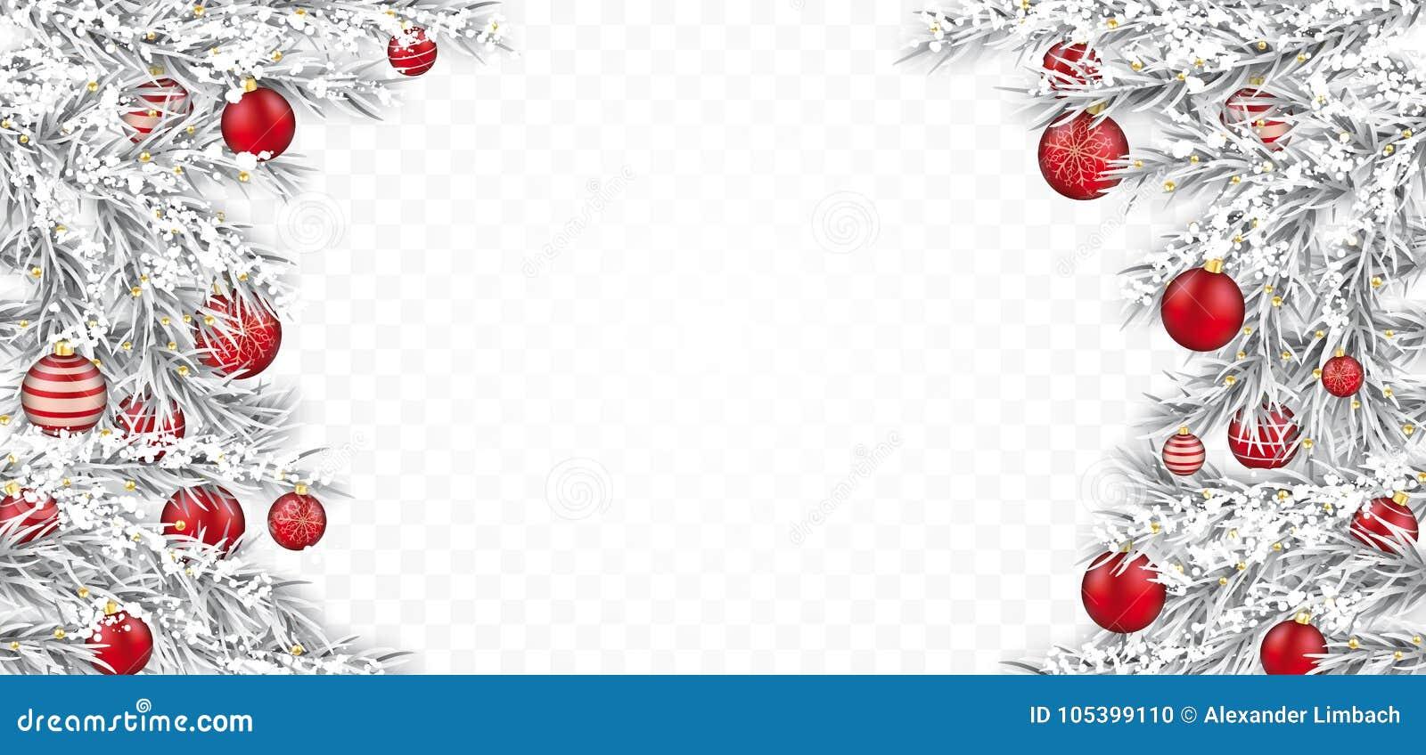Christmas Header Transparent.Frozen Twigs Red Baubles Transparent Header Stock Vector