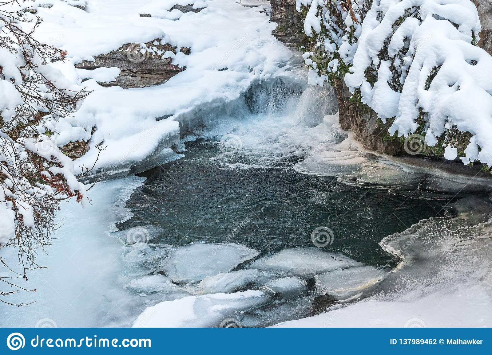 Frozen waterfalls of Johnston Canyon in Banff National Park, Canada