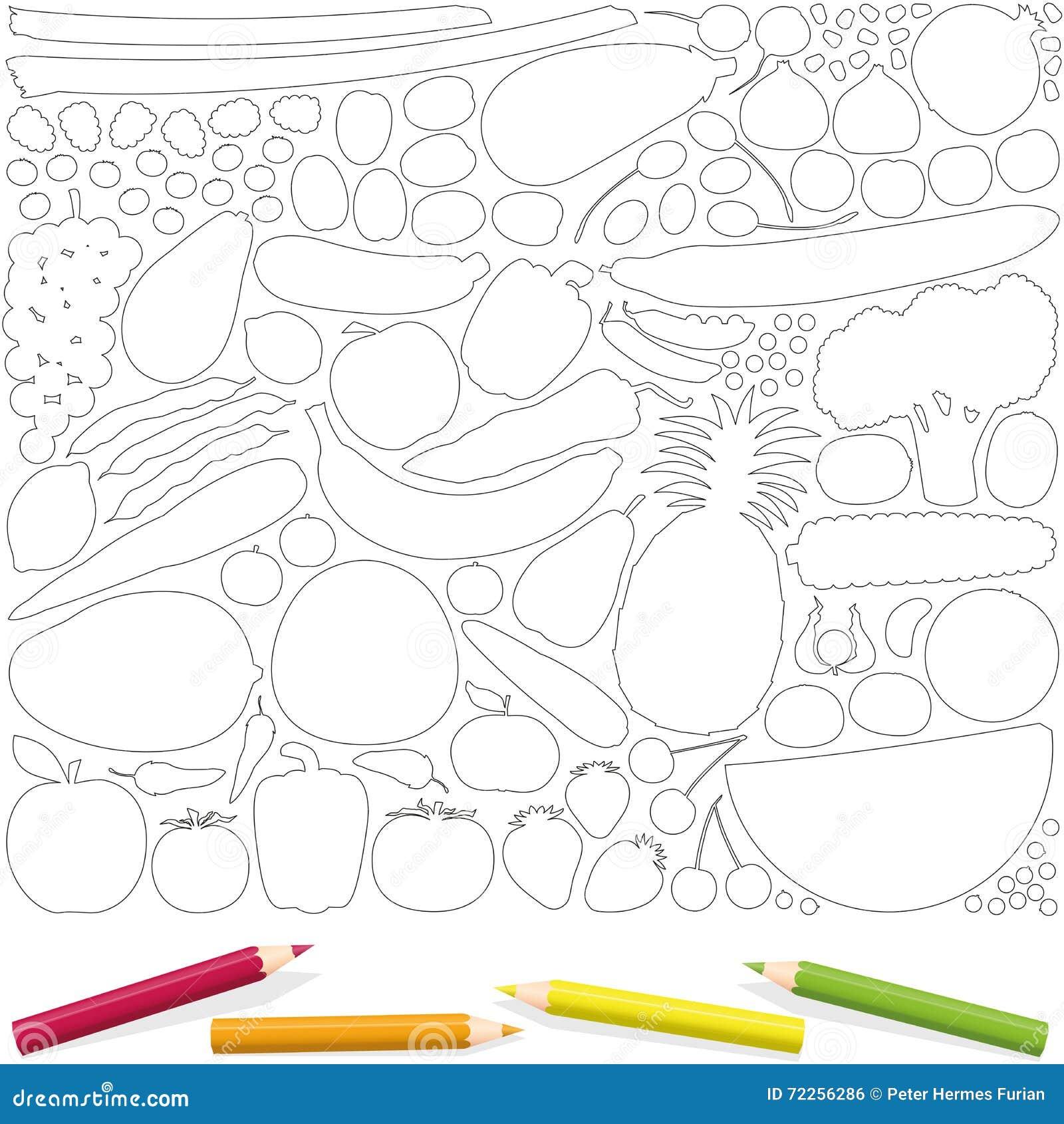 Frucht-Gemüse, Das Seiten-Bild-Schablone Färbt Vektor Abbildung ...