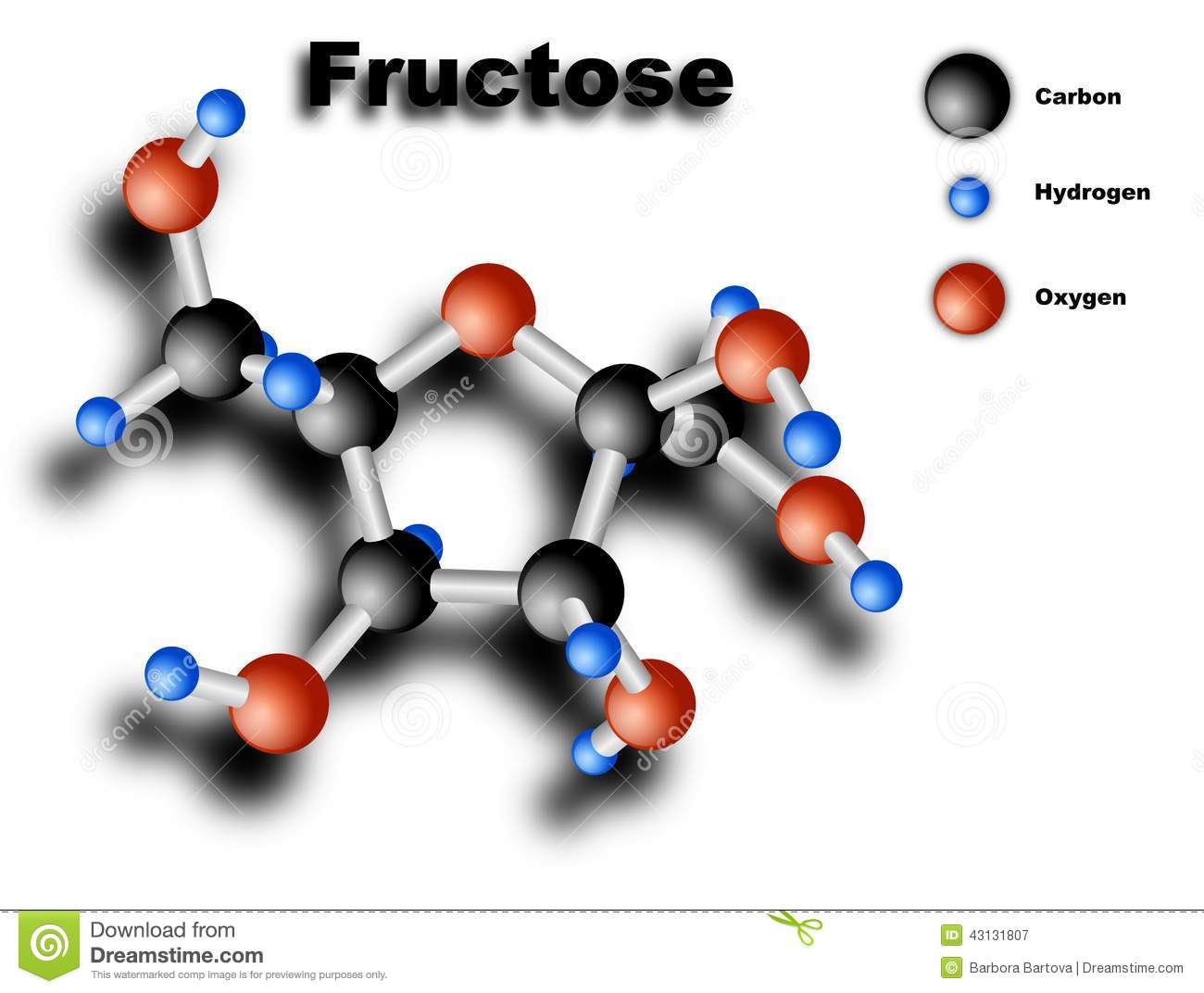 Forest Grove (OR) United States  City pictures : Shaded 3D vector drawing of fructose molecule, on white background ...