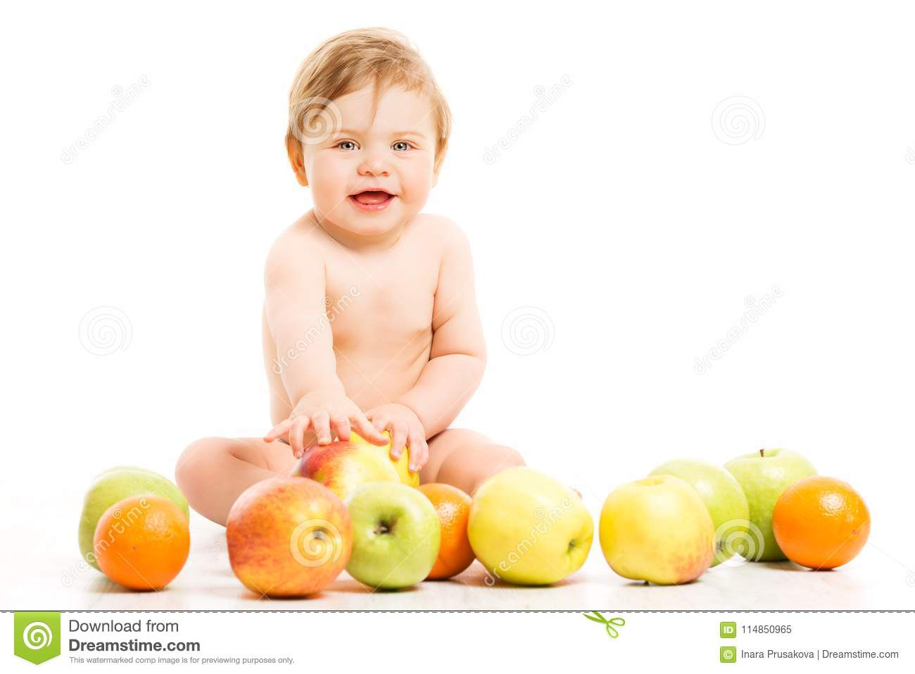 Fruit for Baby, Happy Child Girl with Apples sitting over White