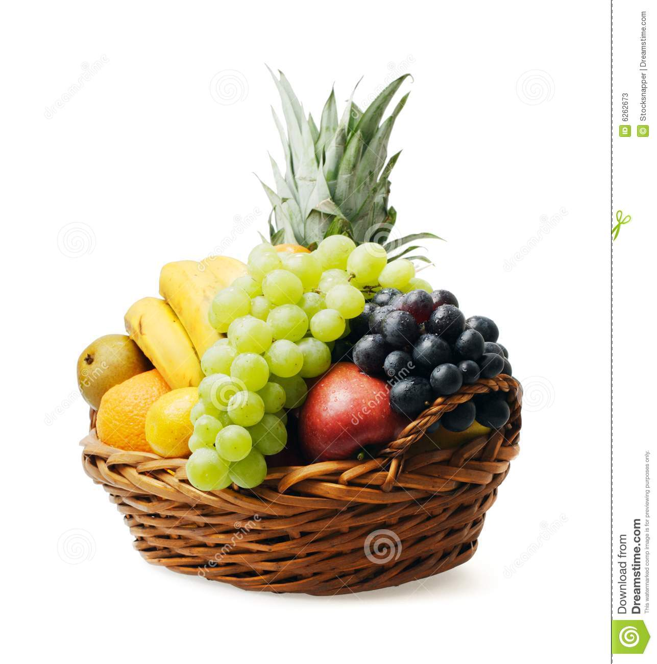 Fruit basket with mixed fruit on white background.