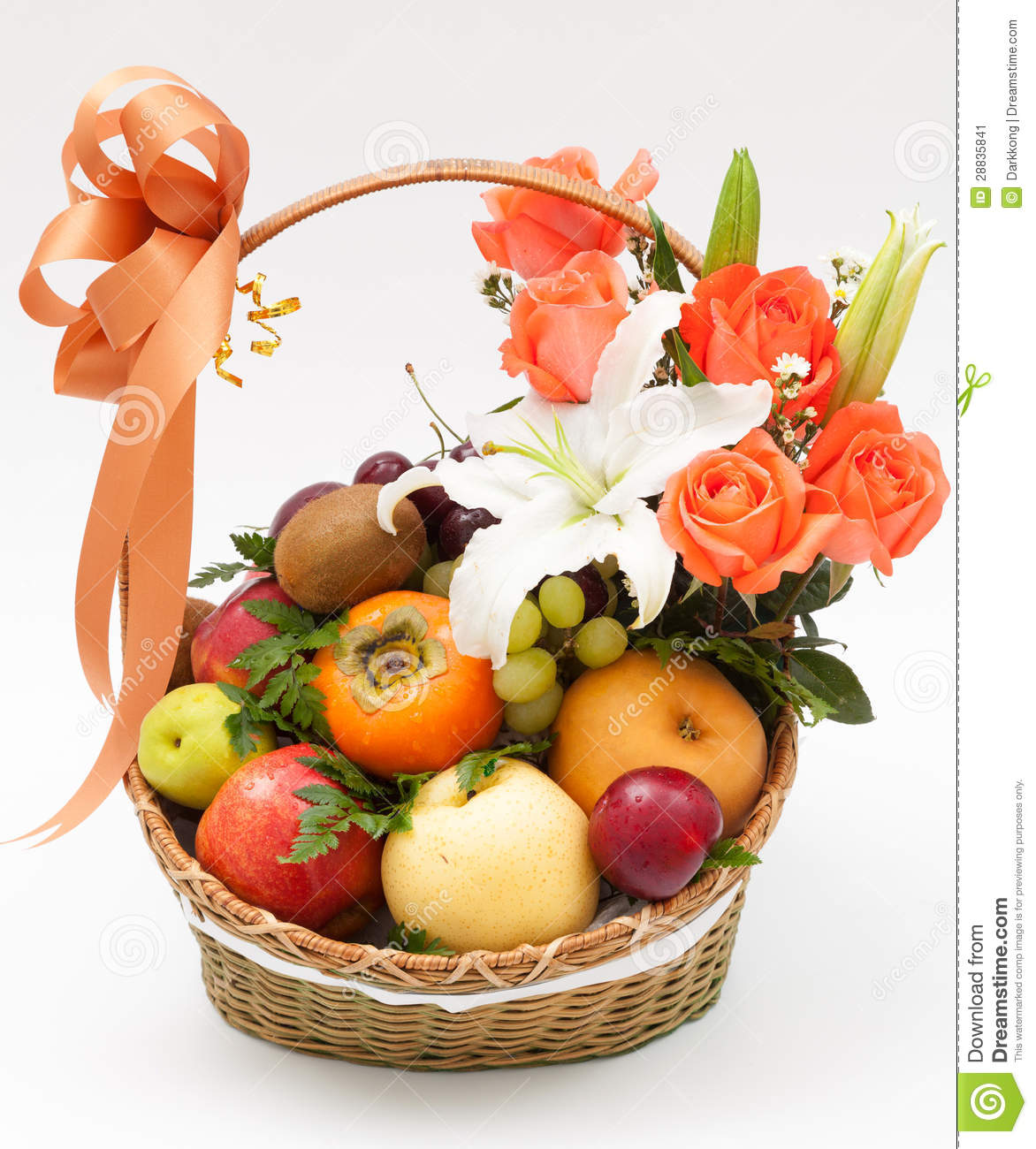 Fruit Flower Baskets Saskatoon : Fruit basket with flower stock image