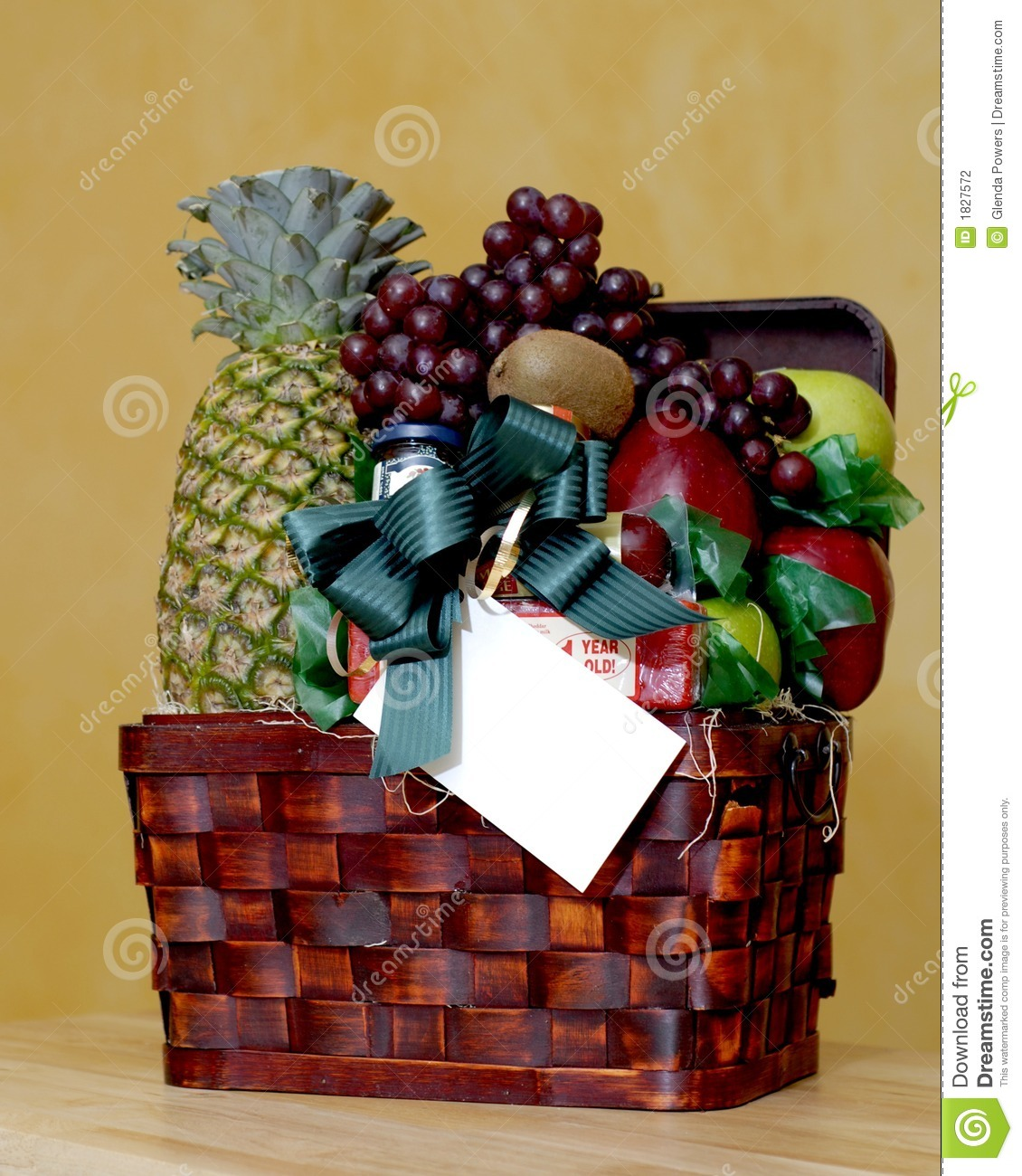 Fruit Basket With Gift Card Stock Photo Image Of Grapes Apples