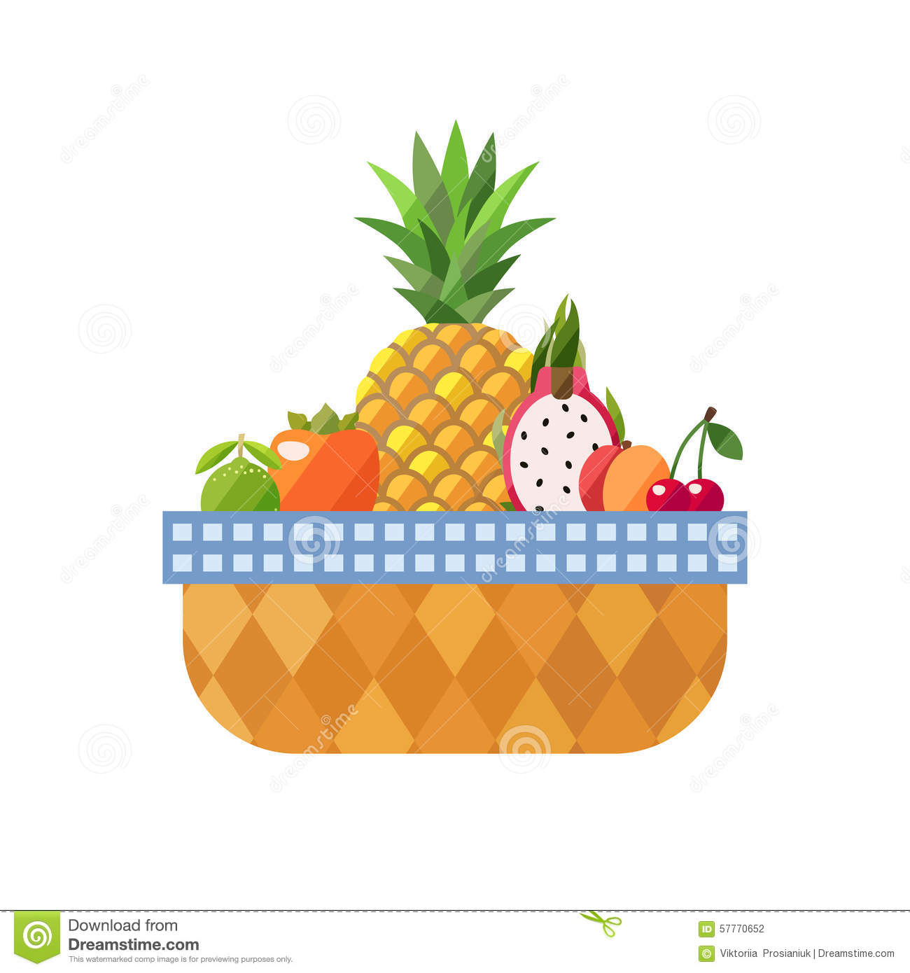 Fruit Basket Isolated (lime, Persimmon, Pineapple, Dragon