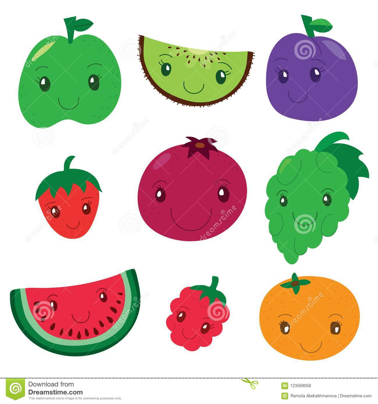 Fruit and berry collection. Vector cartoon smiling characters. C