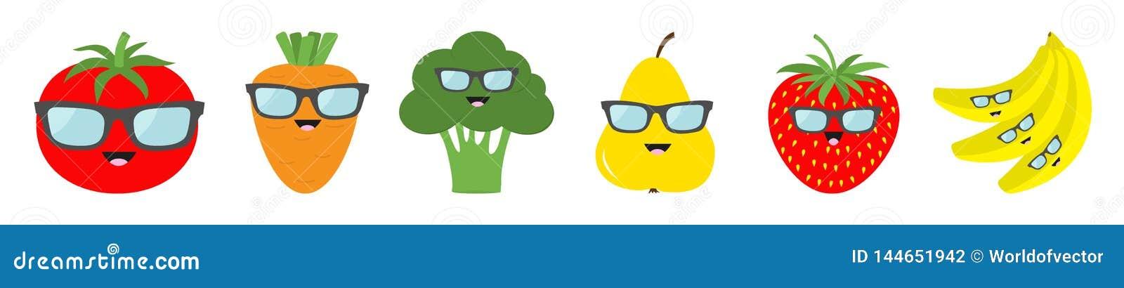 Fruit berry vegetable face sunglasses icon set line. Pear strawberry banana,Tomato, carrot broccoli. Cute cartoon kawaii character
