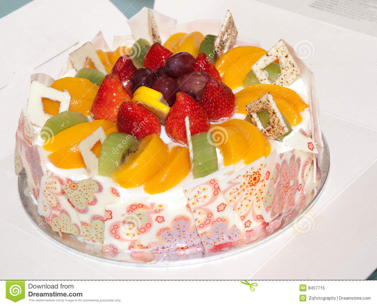 Fruit Birthday Cake Stock Image Image Of Anniversary 8457715