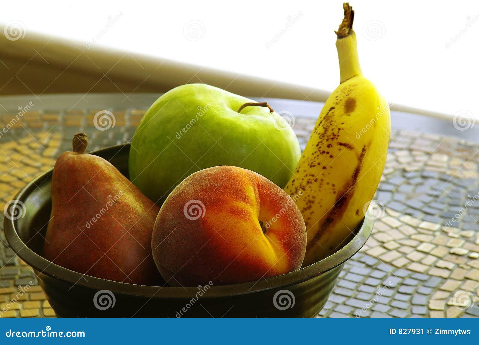 Fruit bowl on tile table