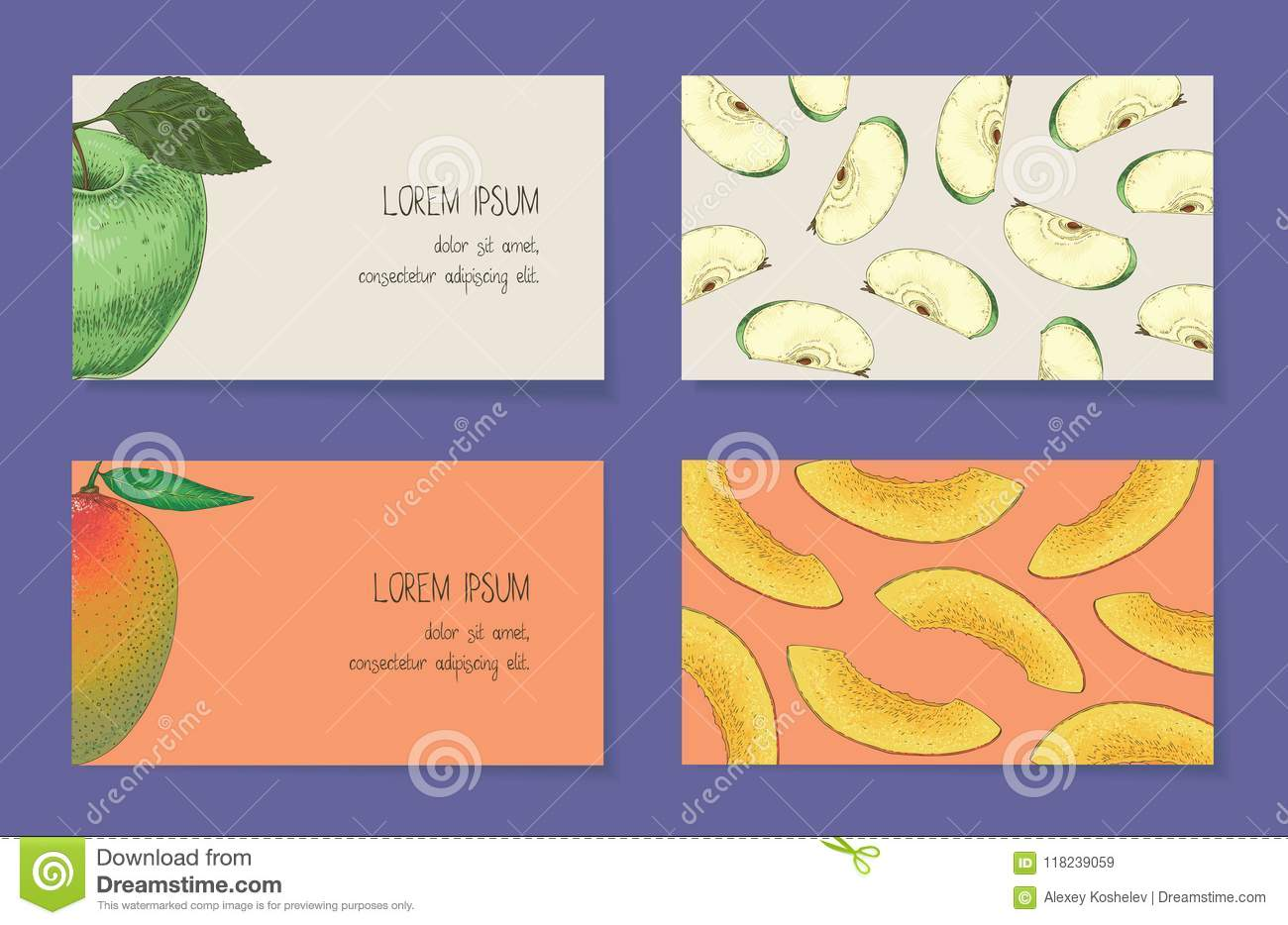 Fruit business cards template collection stock vector illustration fruit business cards template collection accmission Choice Image