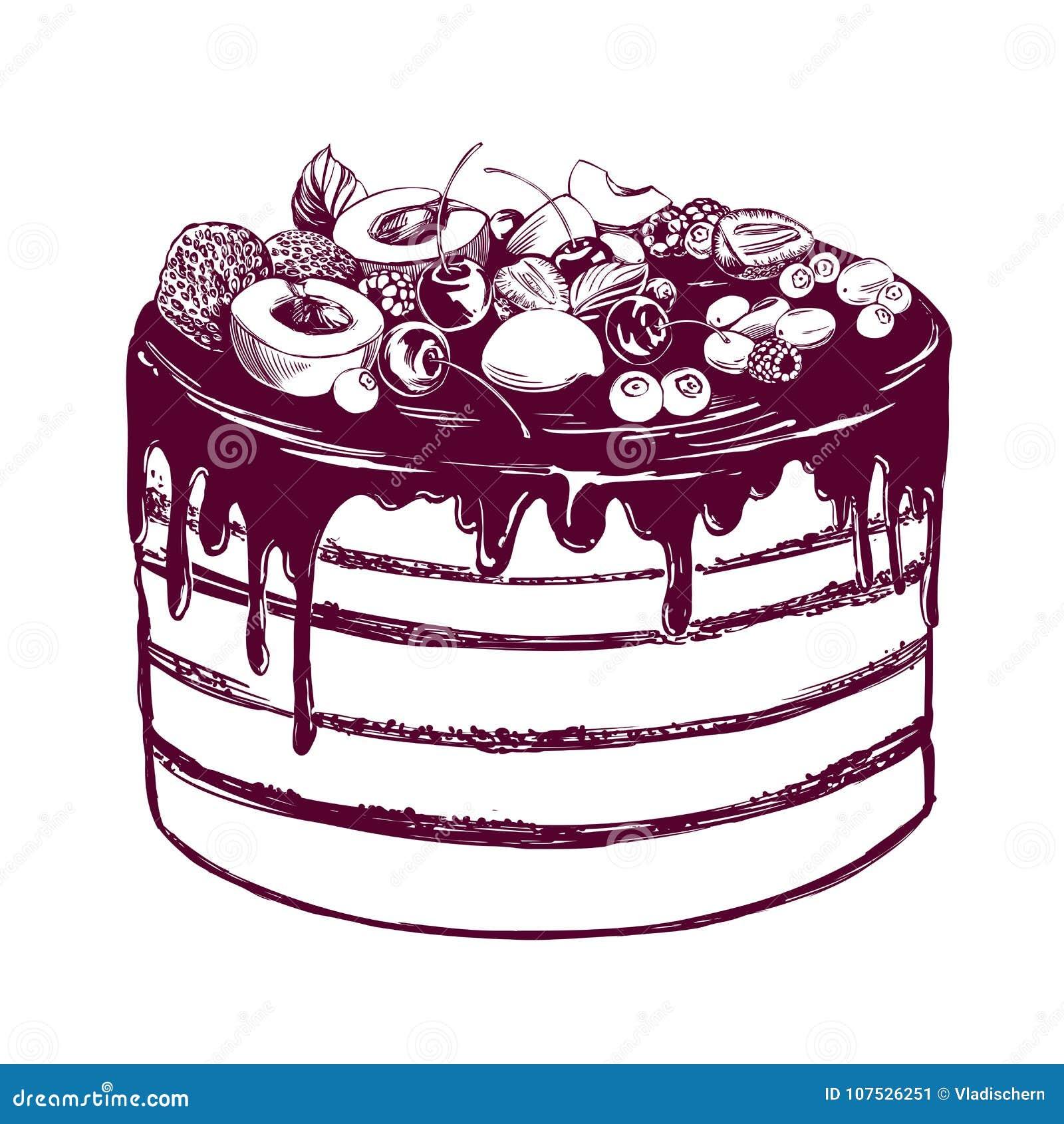 Fruit Cake Birthday Dessert Symbol Of The Holiday Hand Drawn