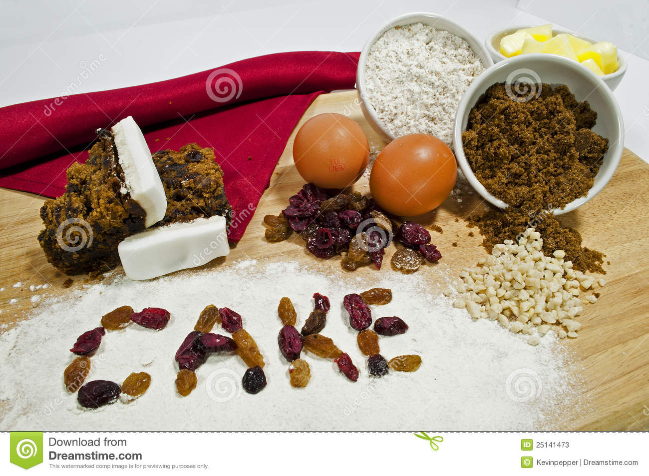 Fruit cake ingredients stock image image of displayed for What are the ingredients to make a cake