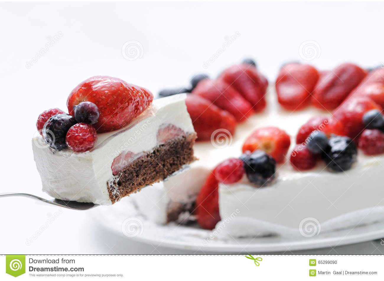 Fruit Cake On Metal Spoon Birthday Cake With Fruits On Top On White