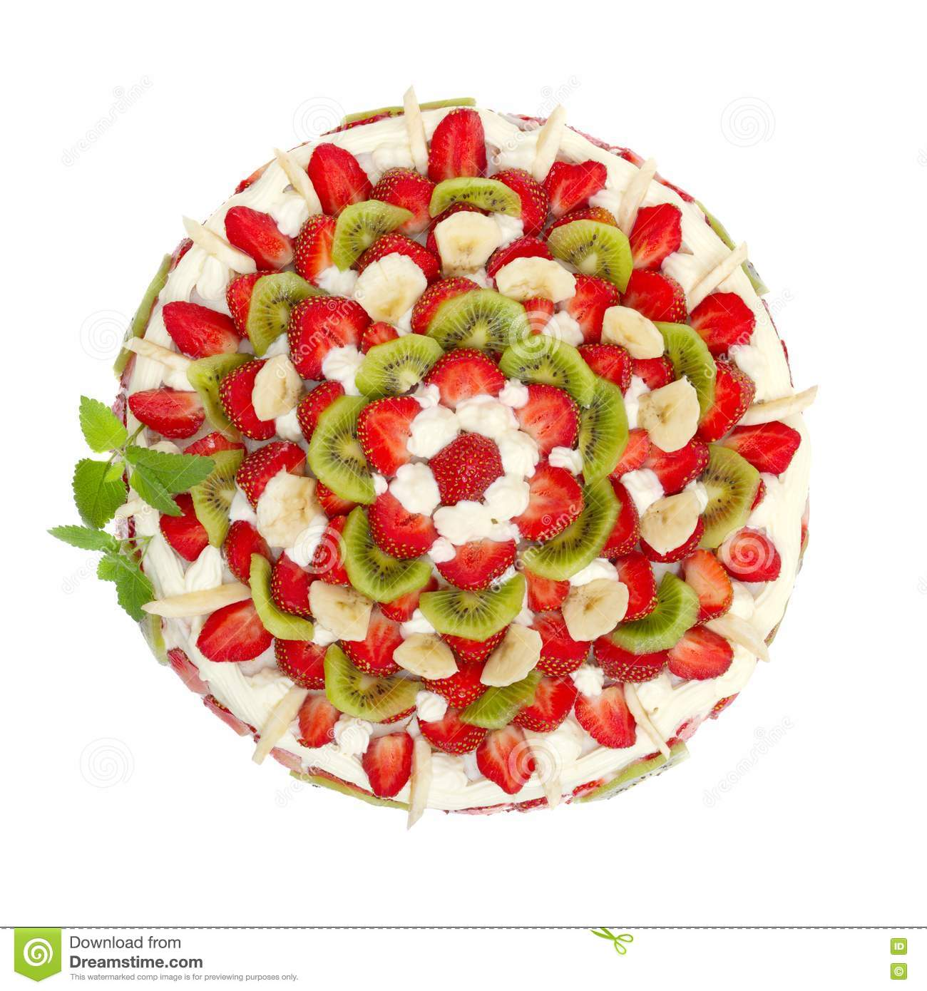 Fruit Cake With Strawberries And Kiwi Fruit Stock Photos ...