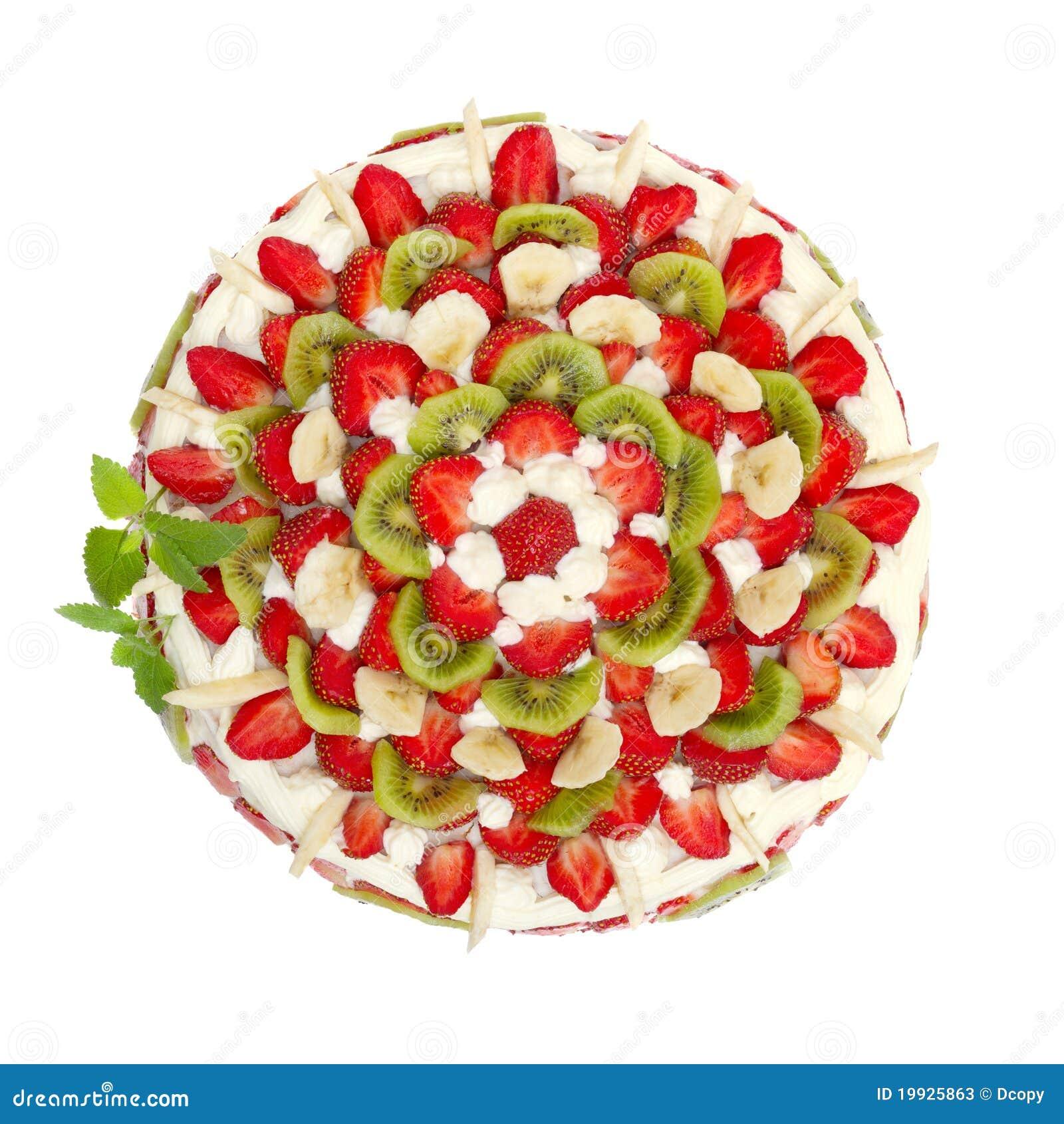 Fruit Cake With Strawberries And Kiwi Fruit Stock Photos ...