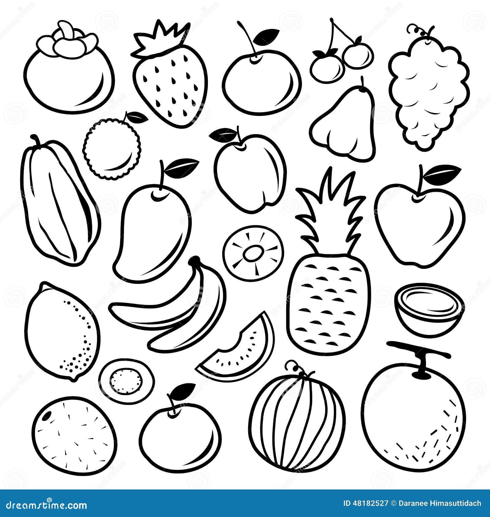 Fruit Cartoon Black Icon Design Vector Stock Image 48182527
