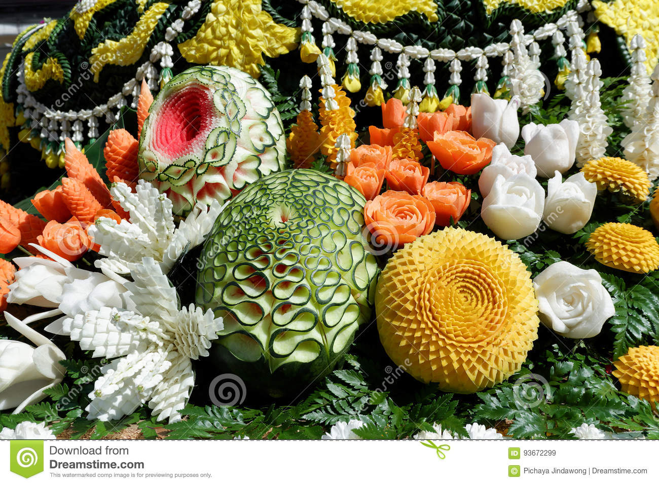 Fruit Carved Decoration From Chiang Mai Flower Festival , Thailand ...