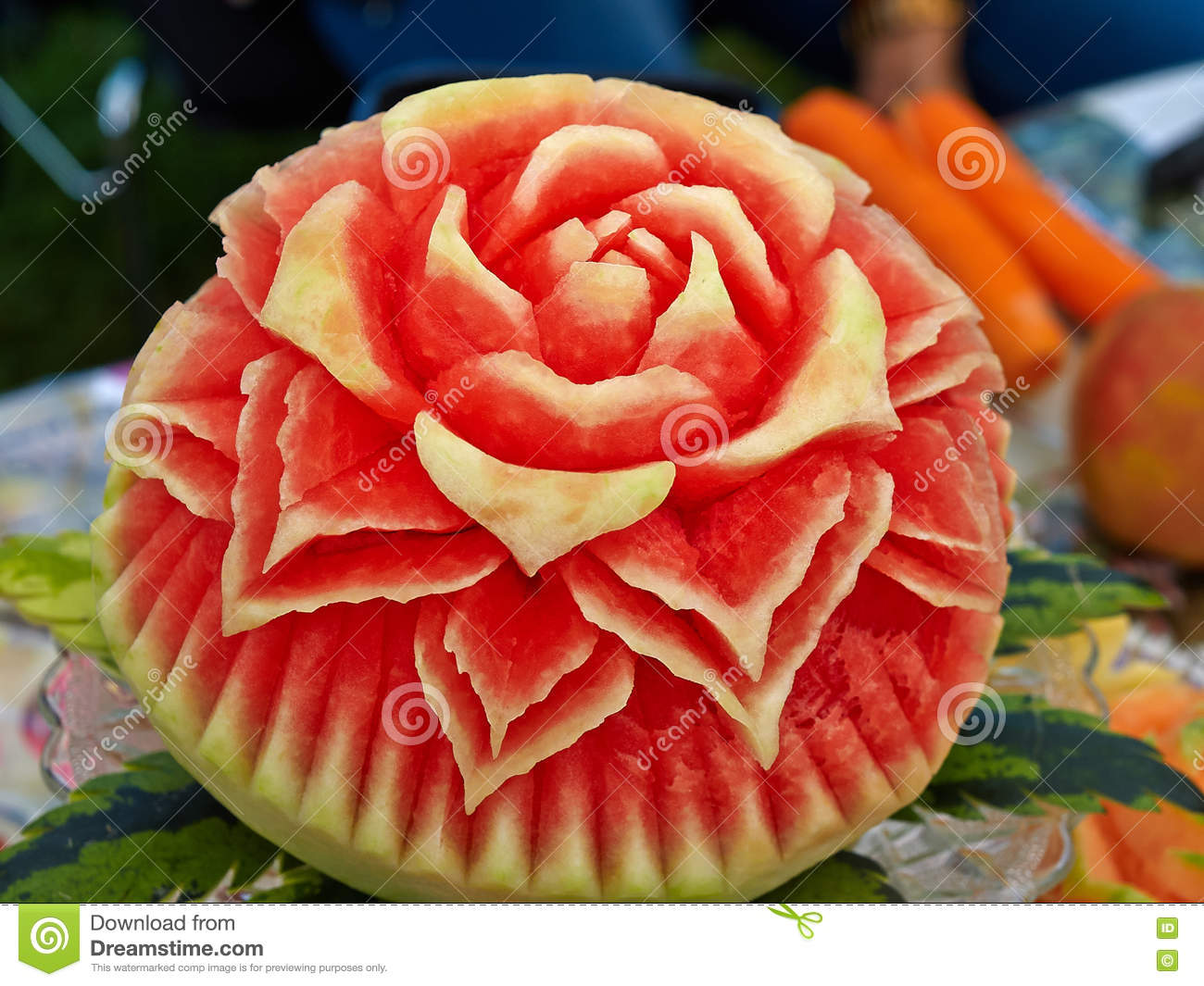 Closeup the art of watermelon carving fruit royalty free