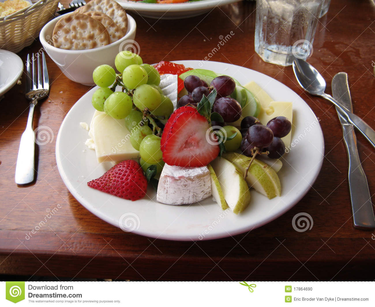 Fruit And Cheese Plate On Table Stock Photo - Image: 17864690