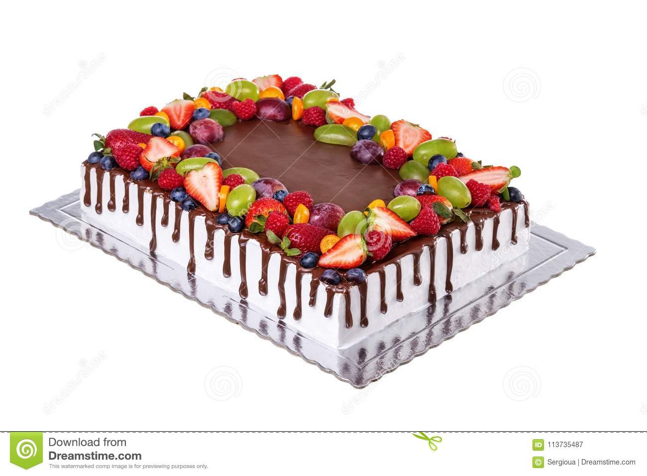 Prime Fruit Chocolate Square Birthday Cake On A White Background Stock Funny Birthday Cards Online Hendilapandamsfinfo