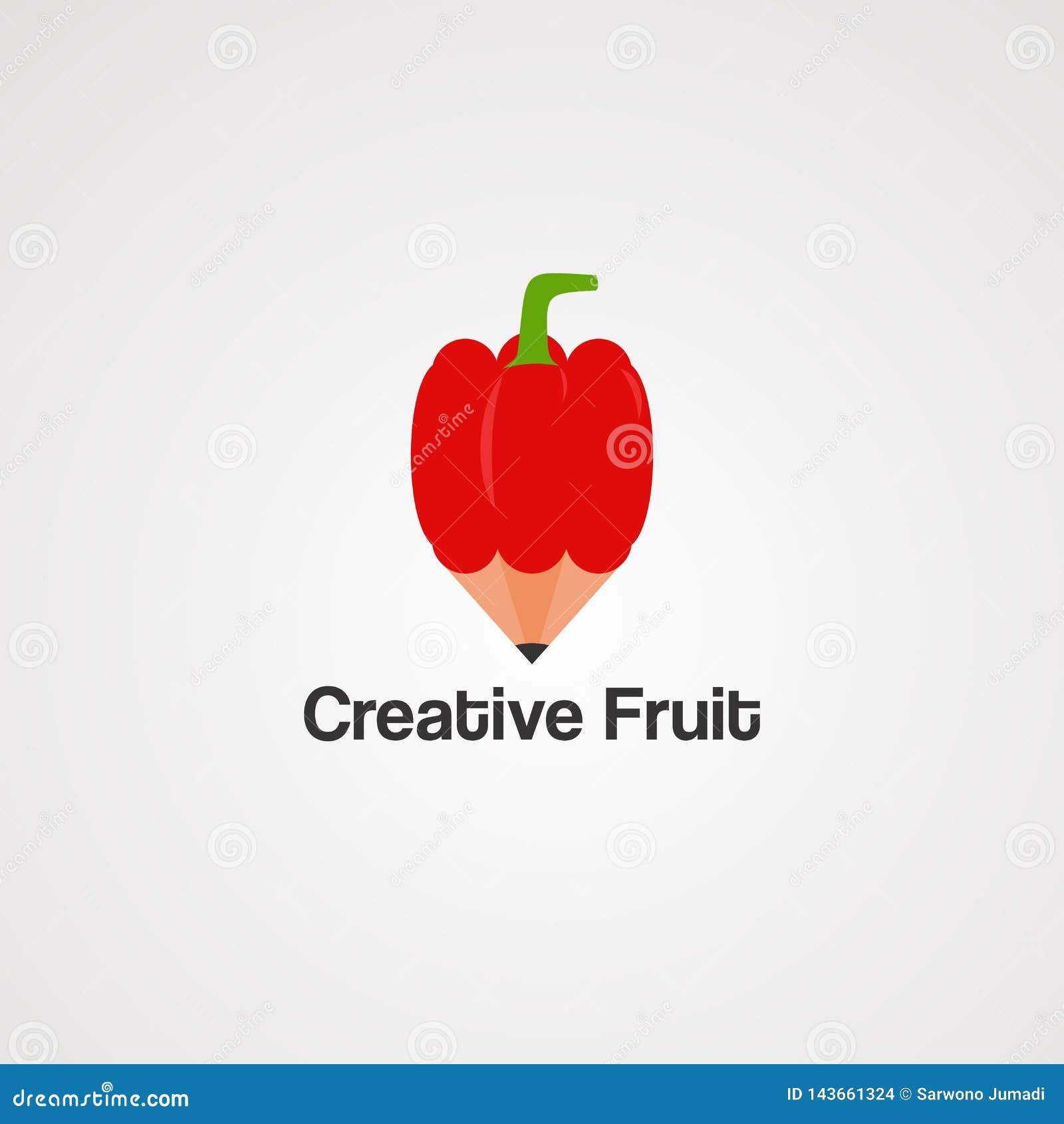 Fruit créatif avec le vecteur, l icône, l élément, et le calibre rouges de logo de crayon pour la société