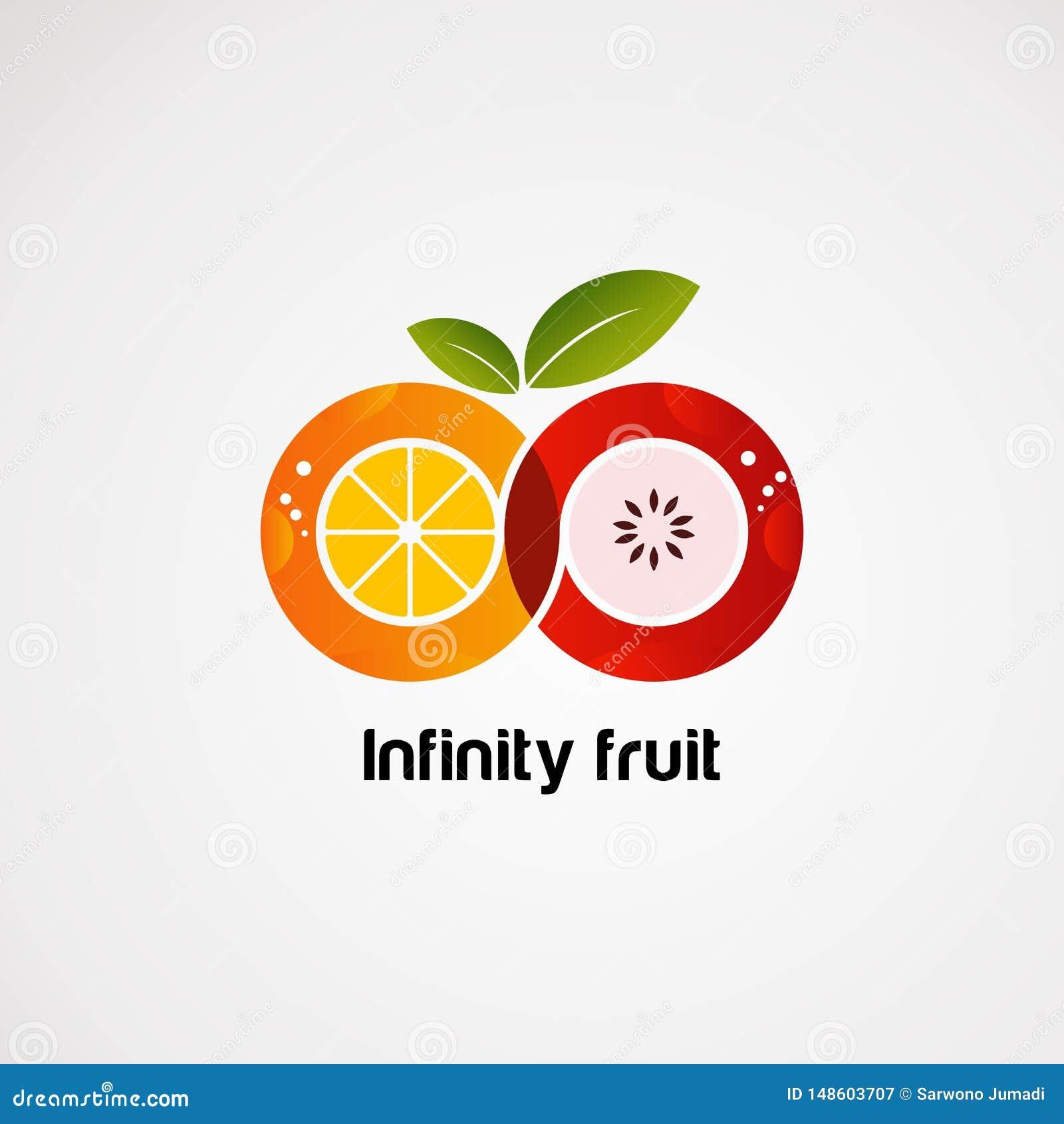 Fruit d infini avec le vecteur, l icône, l élément, et le calibre colorés de logo de concept pour la société