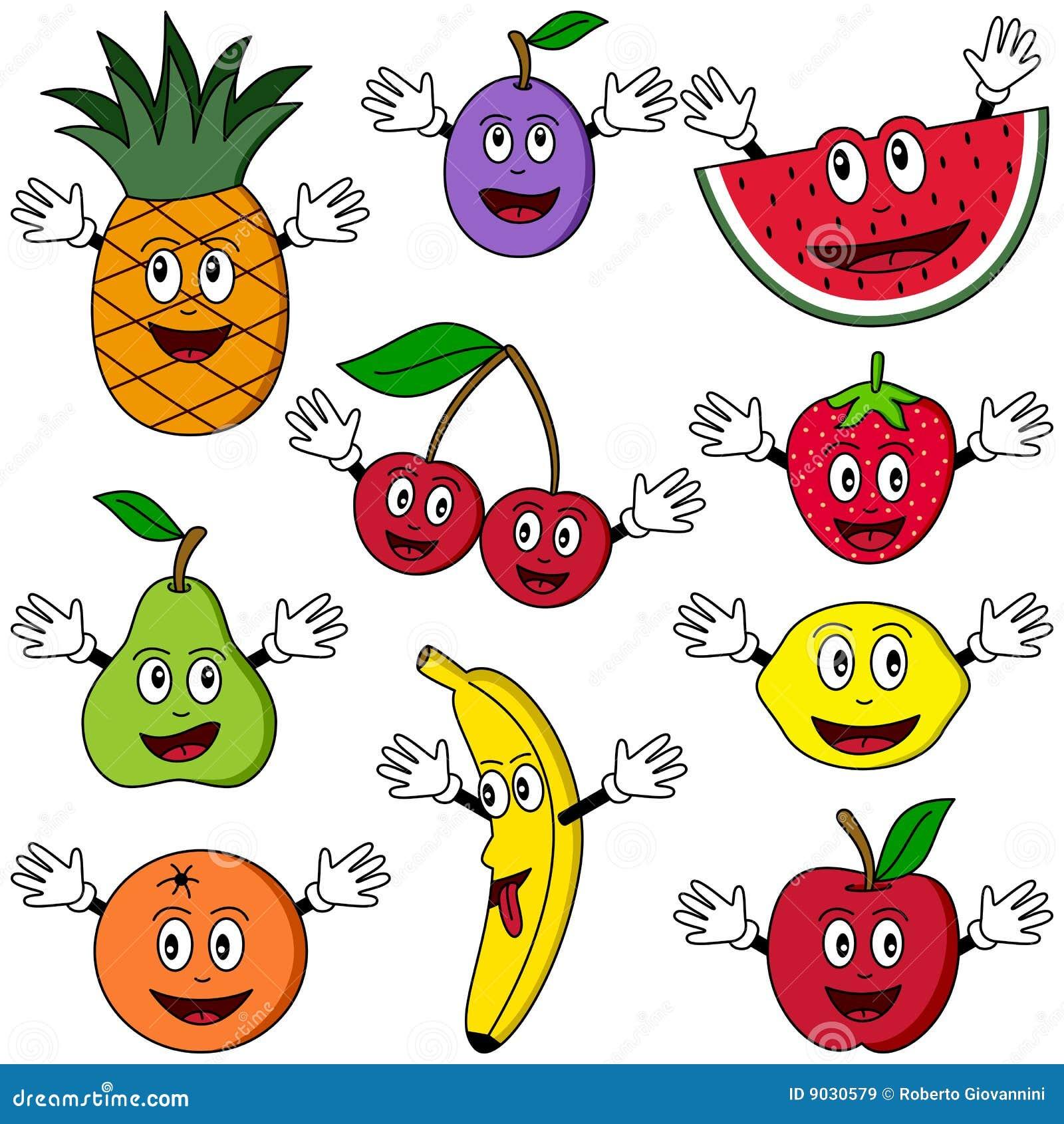 Fruit de personnages de dessin anim images libres de - Dessins fruits ...
