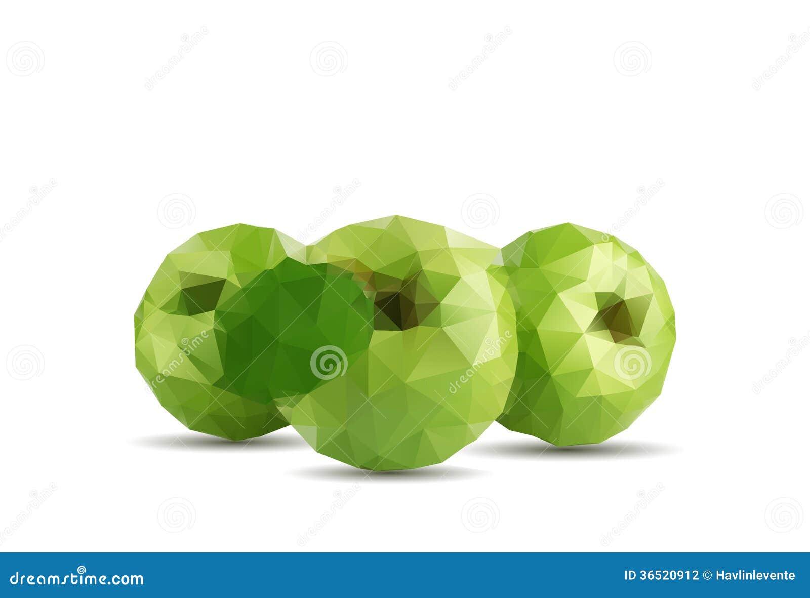 Fruit de pomme du résumé trois avec le style de triangle et le fond blanc