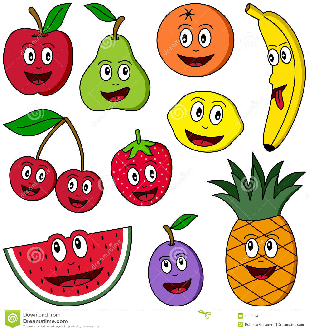 Fruit Dessin fruit de ramassage de dessin animé illustration de vecteur