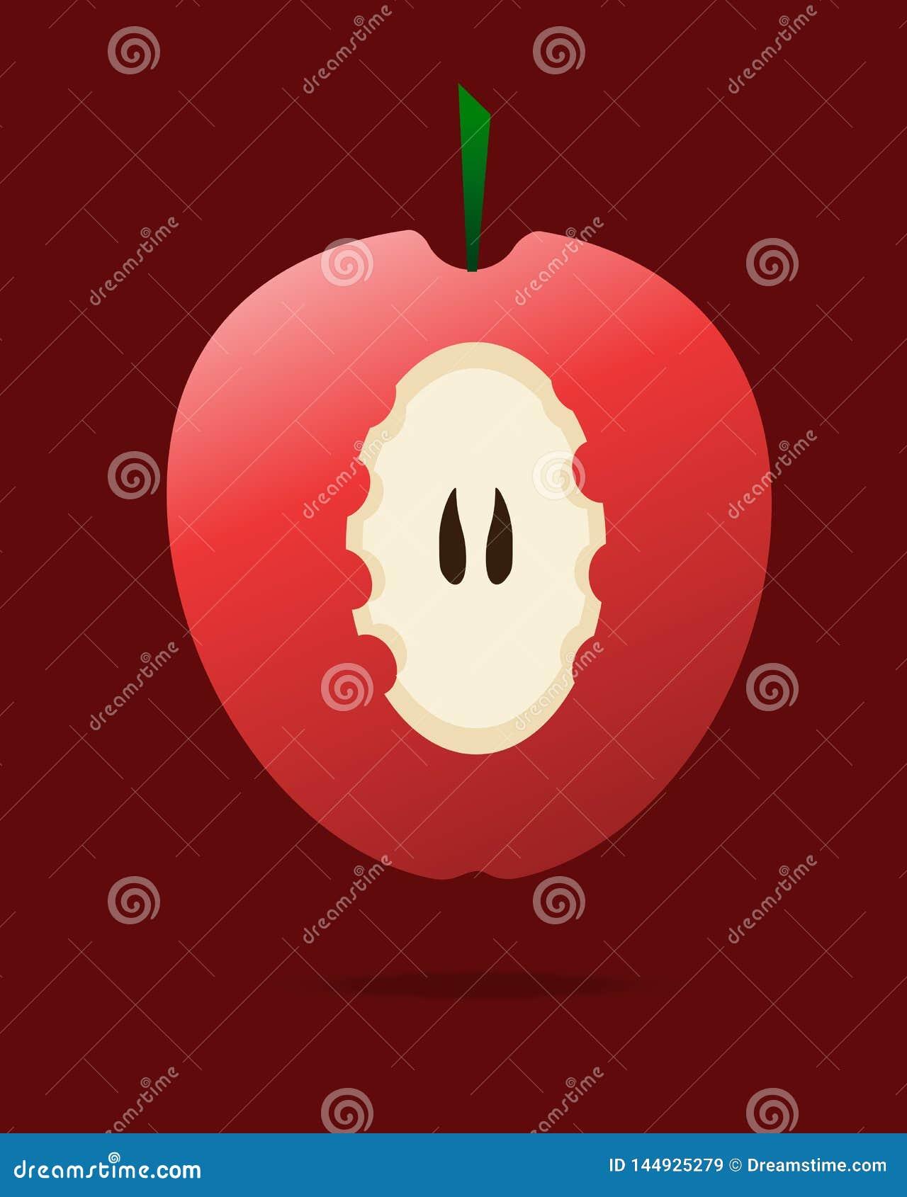Fruit doux et healty de pomme rouge mordue -
