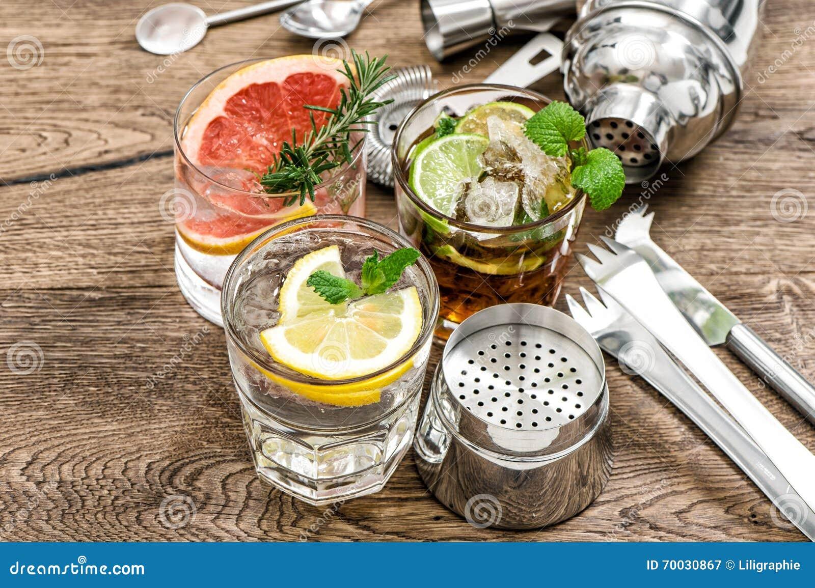 Fruit drinks Cocktail making bar tools, shaker, glasses