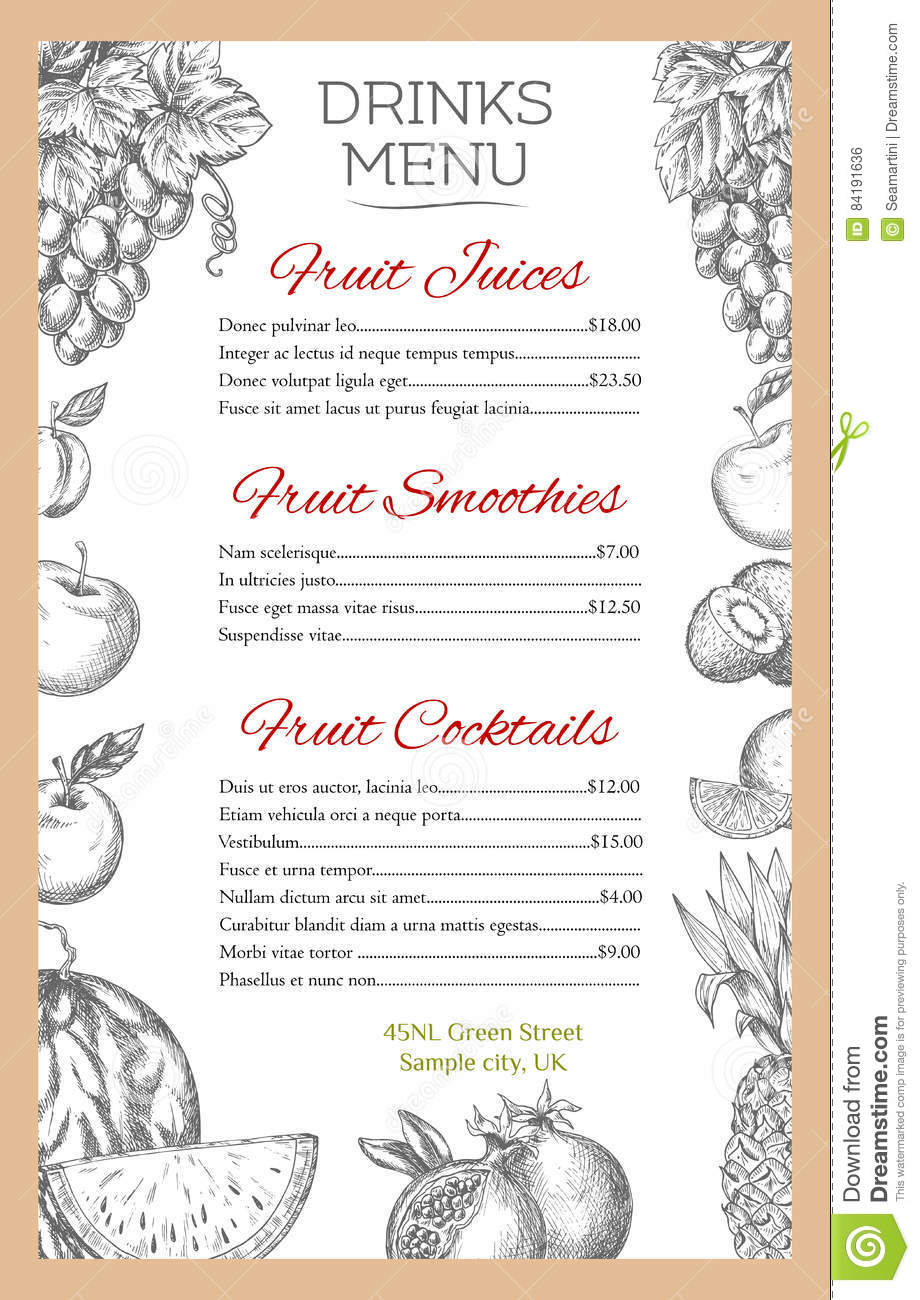 fruit drinks menu of vector sketch fruits juice