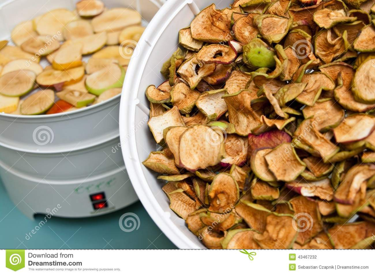 Fruit dryer with apple pieces