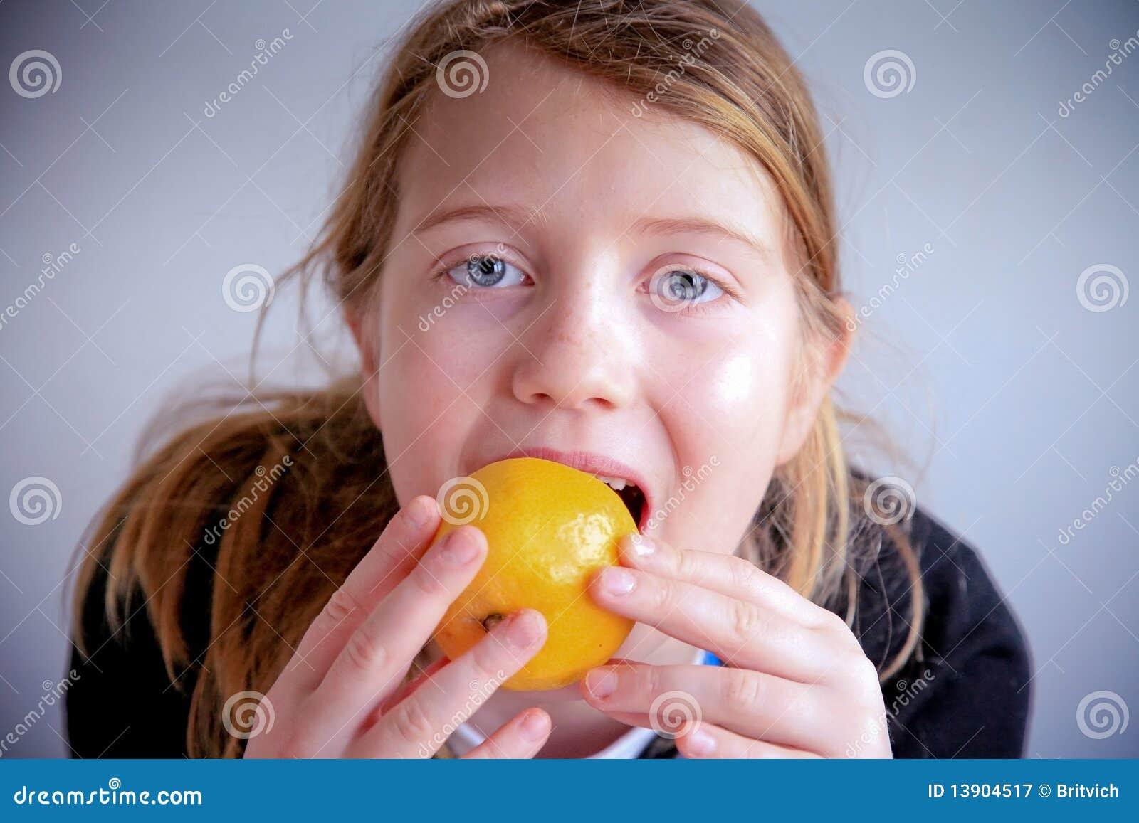 Fruit eating girl