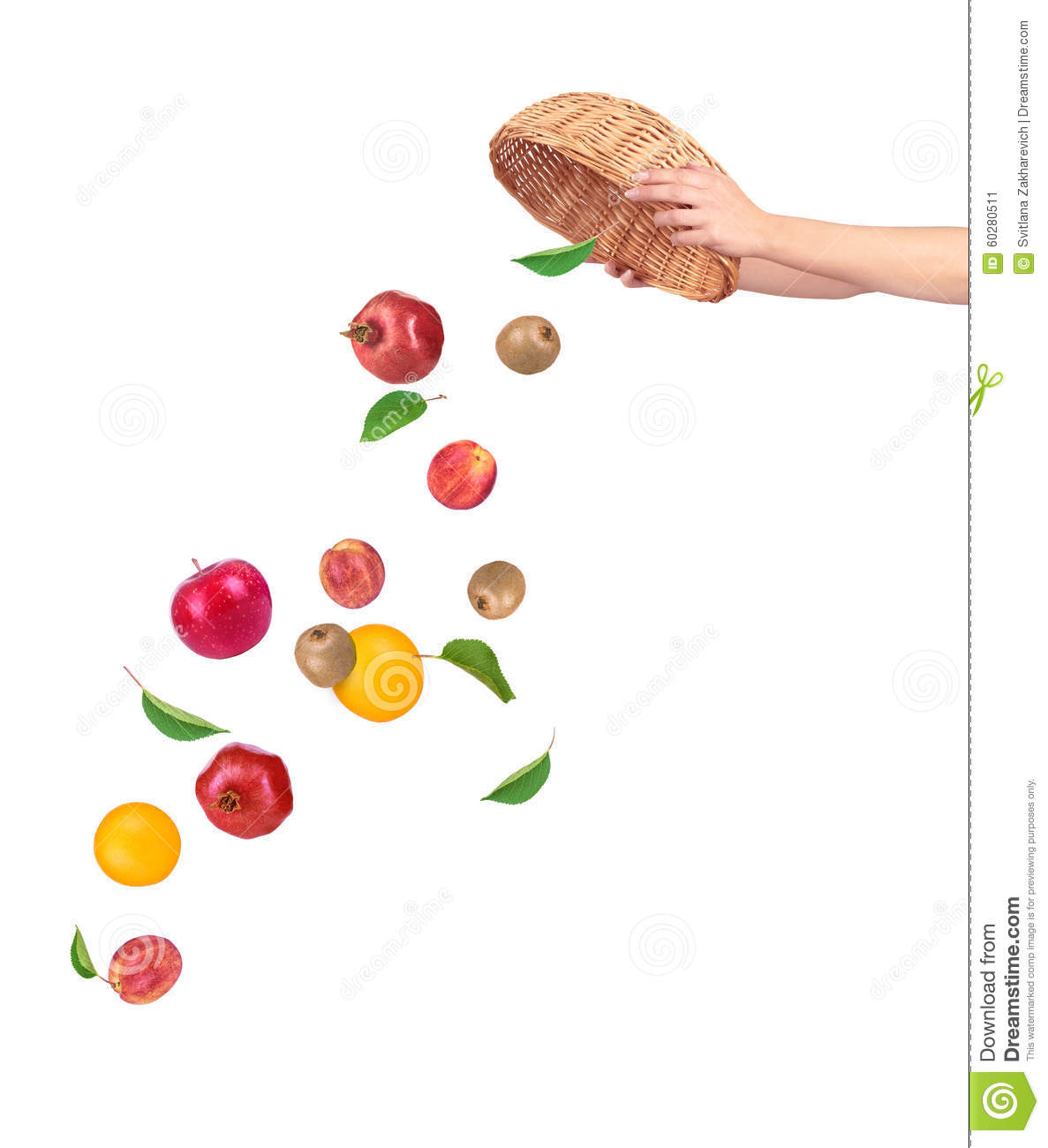 Fruit falling from basket stock image. Image of crisp ...