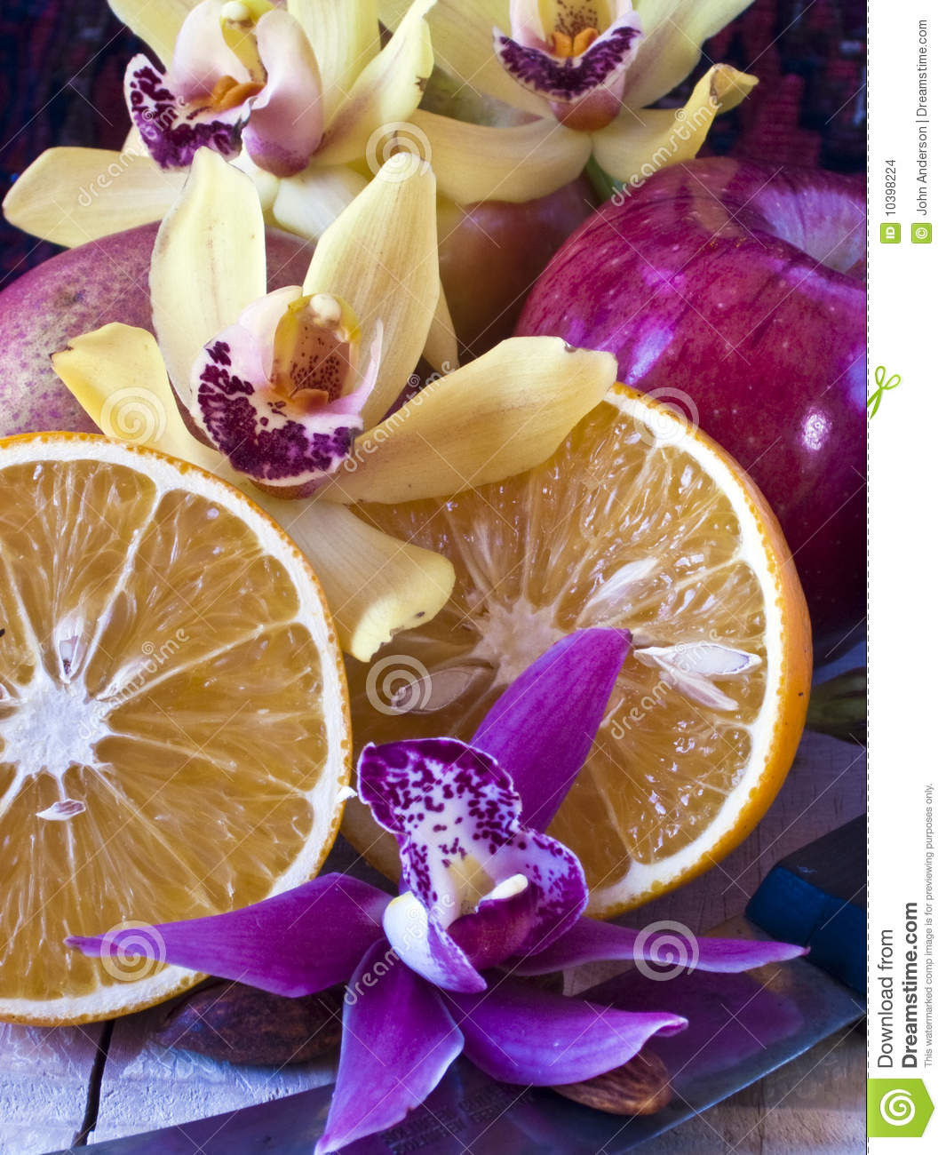 Download Fruit And Flower Still Life Stock Photo