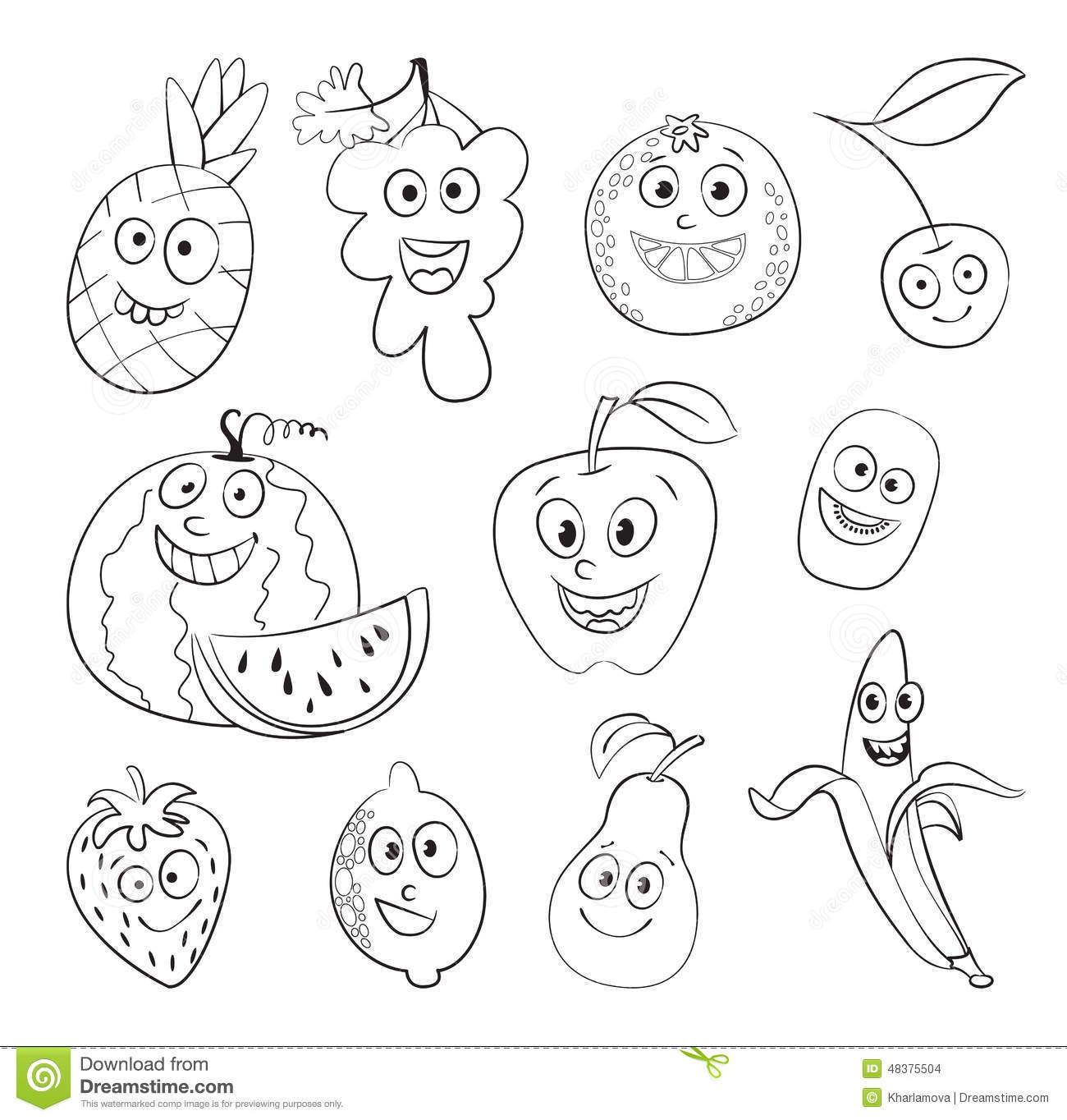 Fruit. Funny Cartoon Character Stock Vector - Image: 48375504