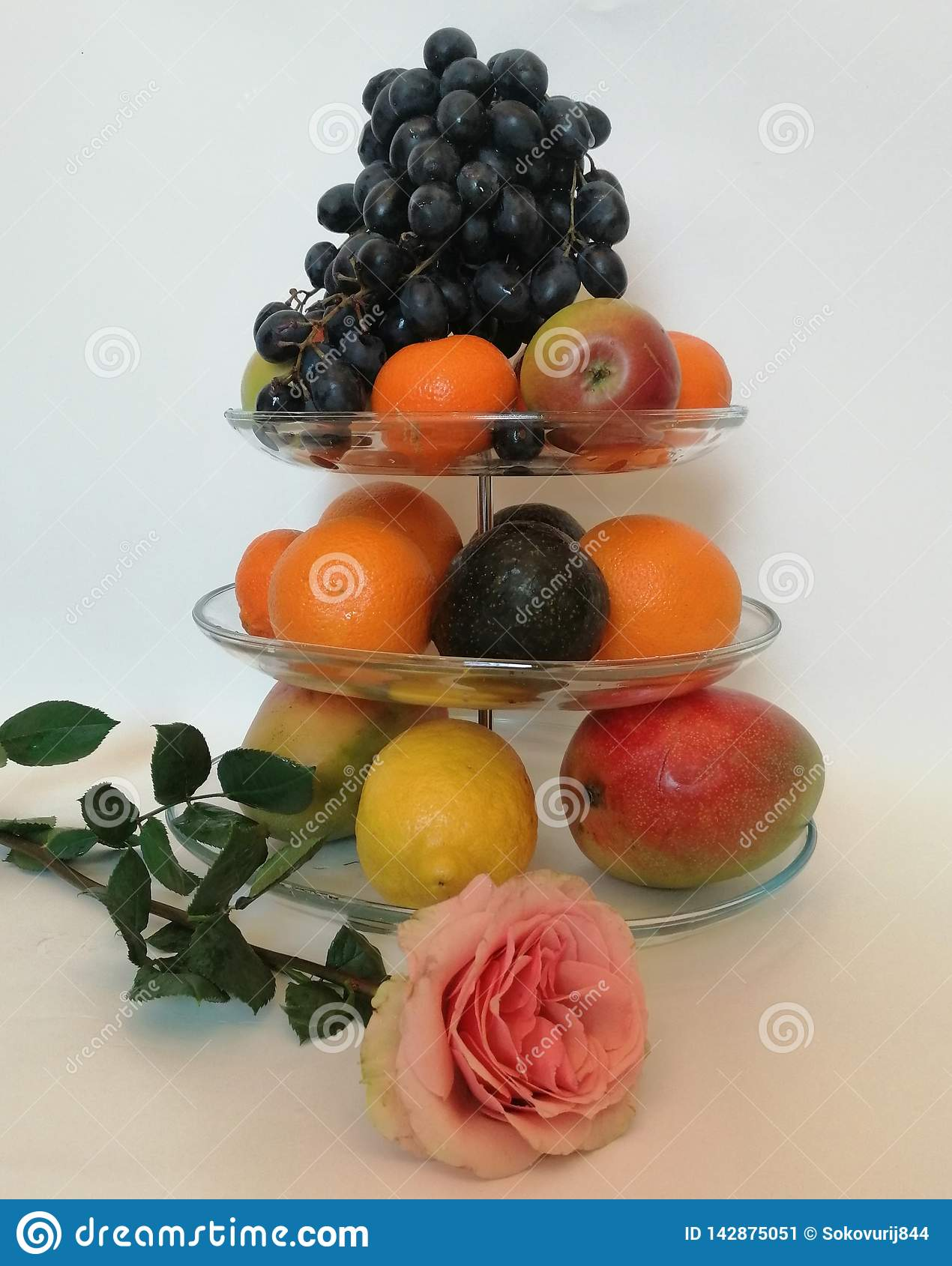Fruit on a glass plate