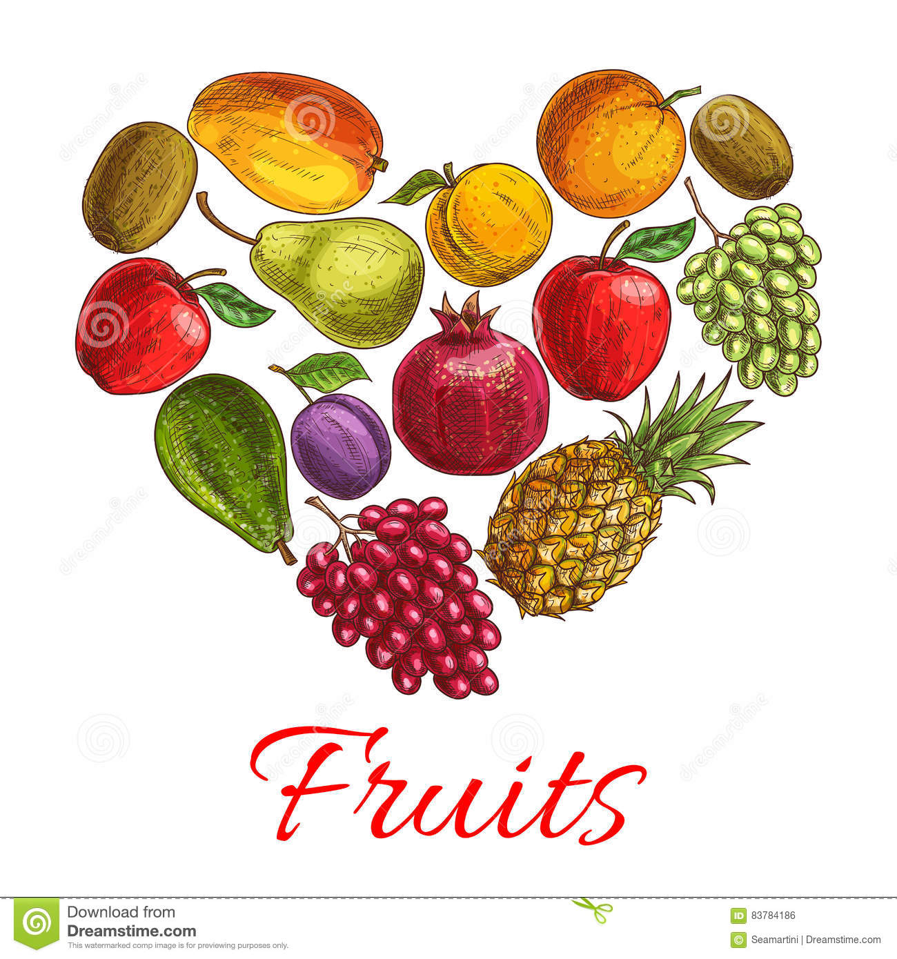 Fruit Heart Sketch Poster For Drinks Food Design Stock Vector