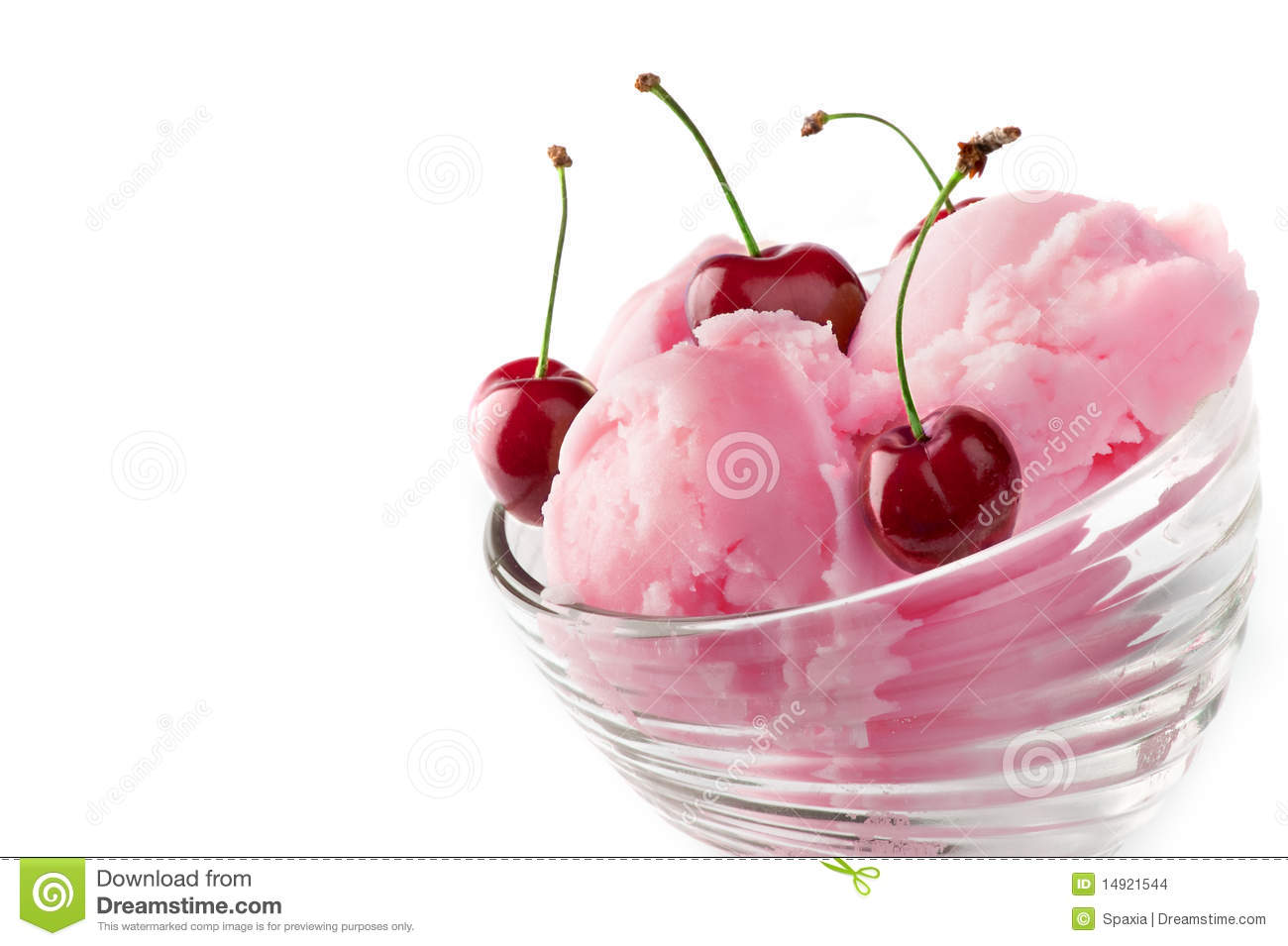 Fruit ice cream with cherry isolated on a white background.