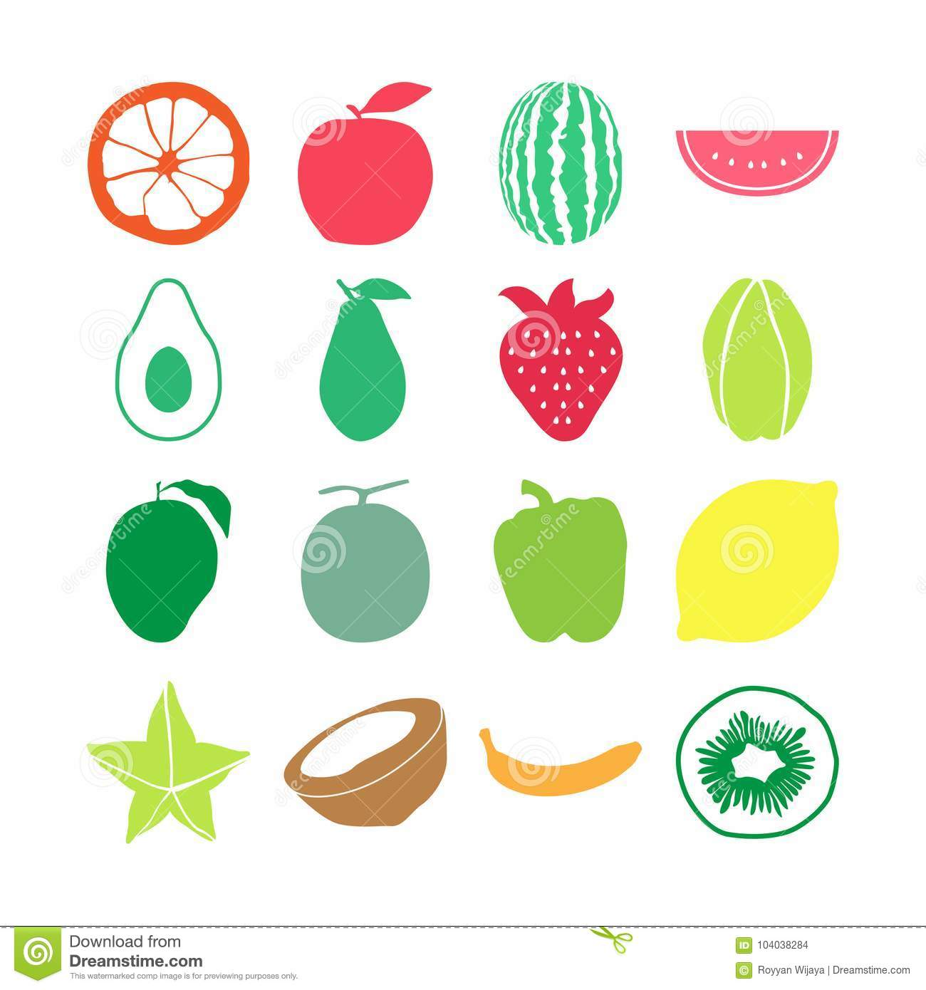 fruit icon set vector collections stock vector illustration of